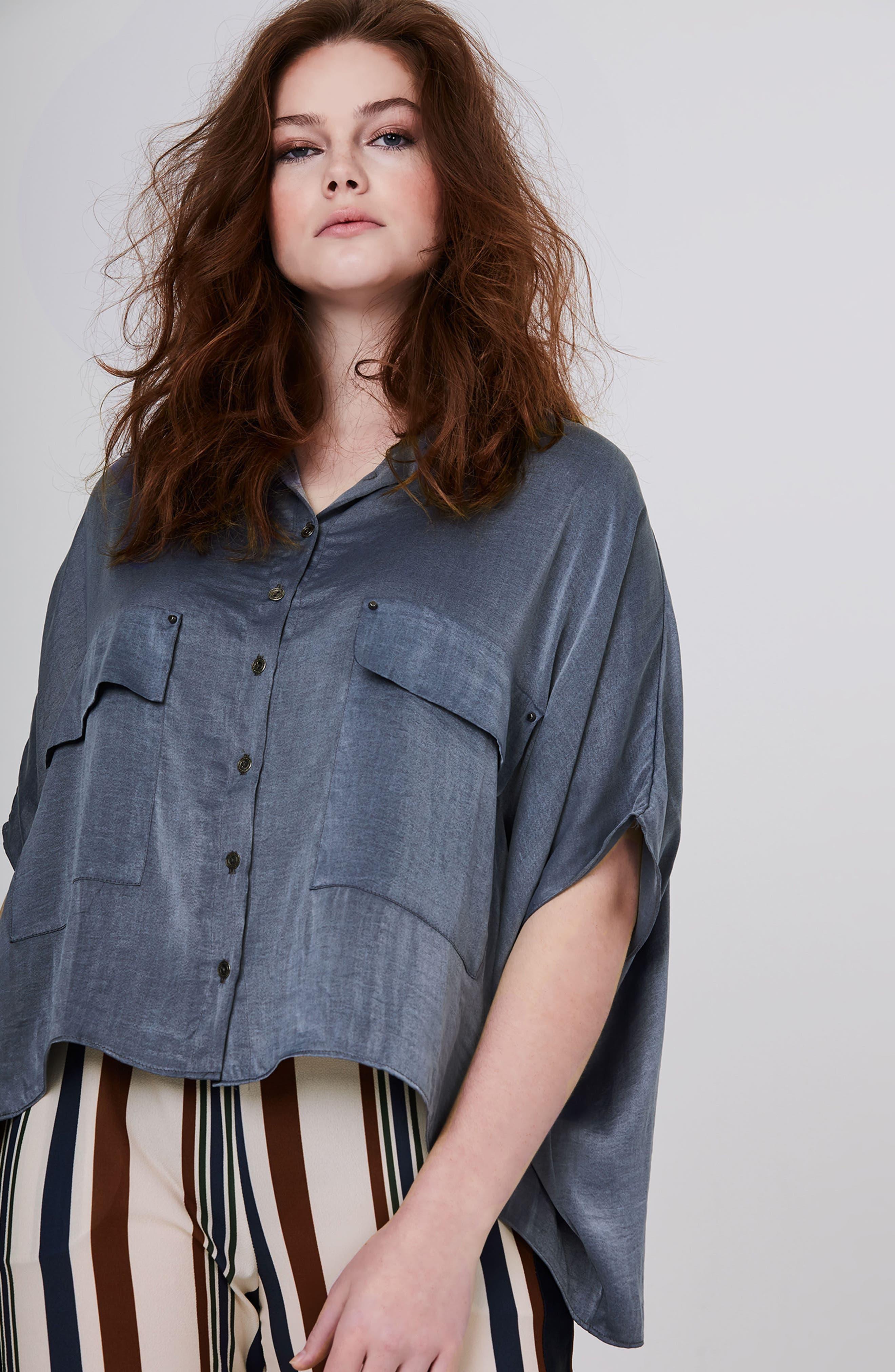 Studded Crop Chambray Shirt,                             Alternate thumbnail 4, color,                             400