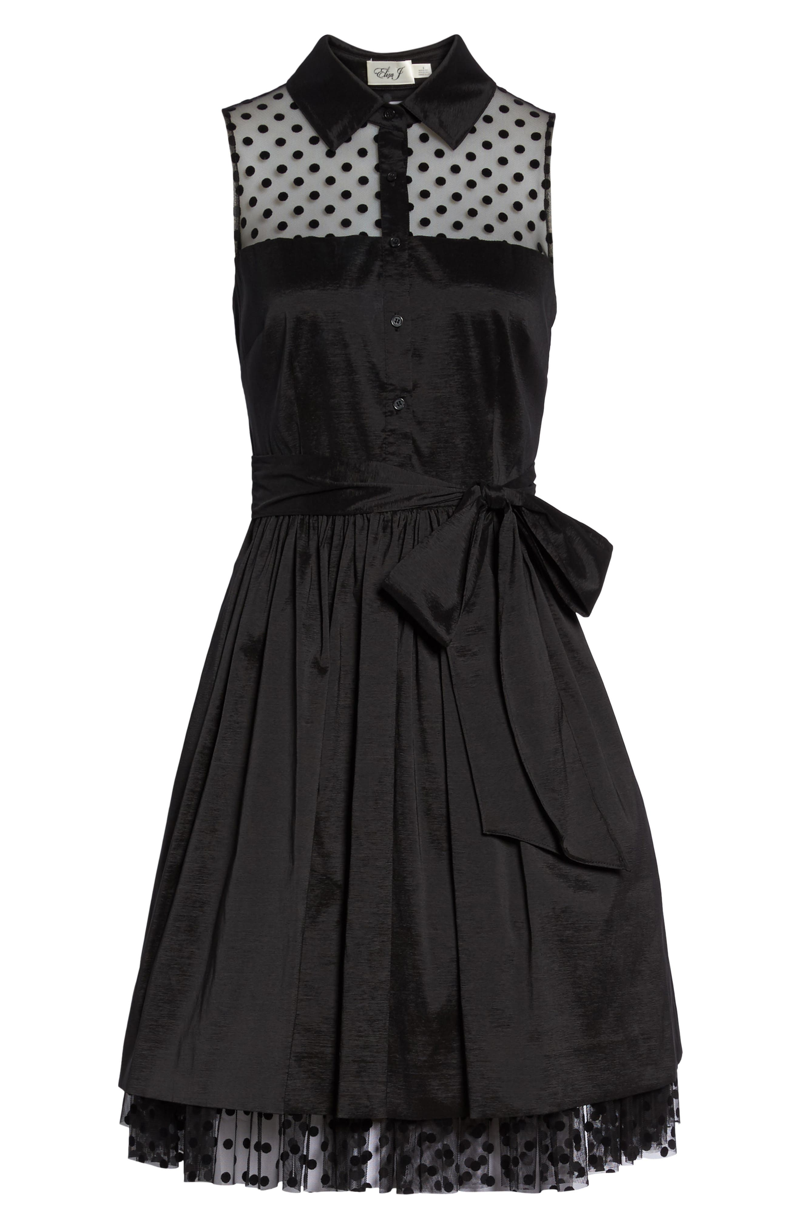 Pleated Shirtdress,                             Alternate thumbnail 6, color,                             001