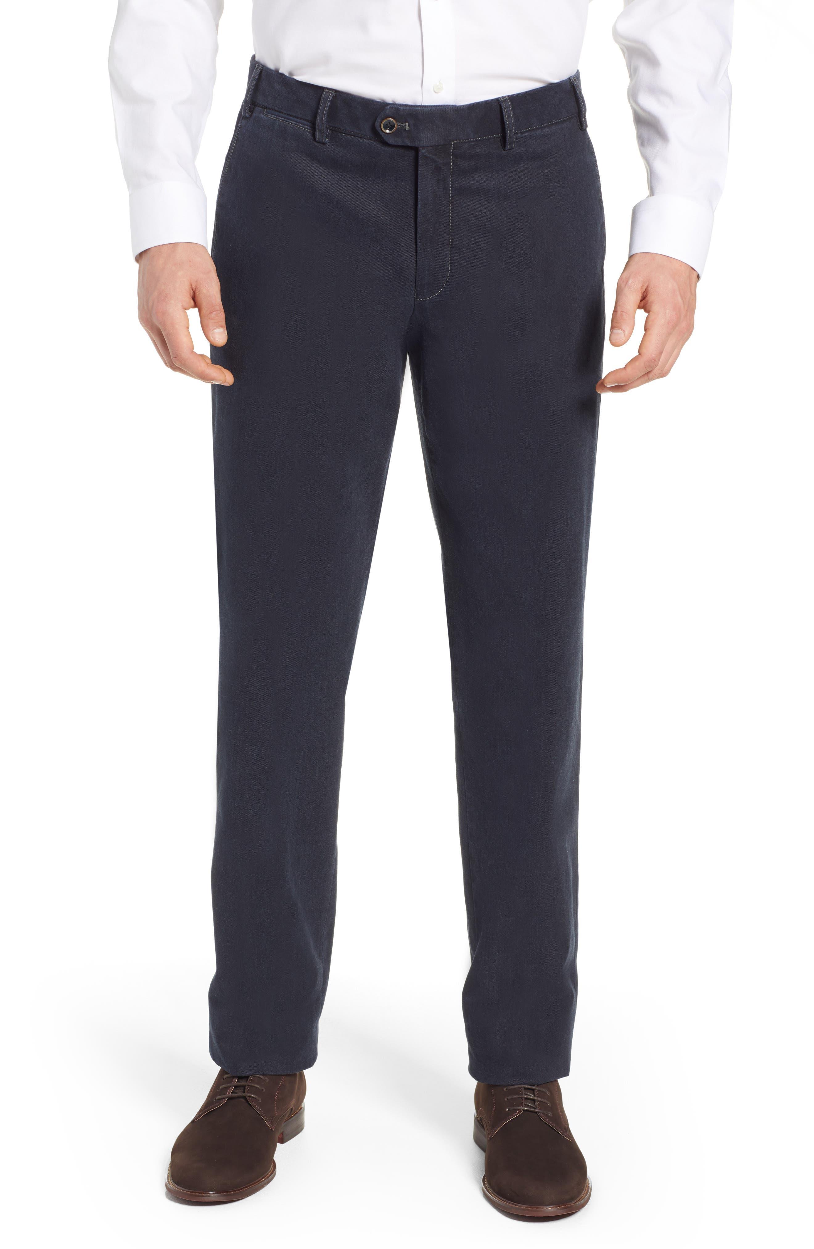 Pero Trim Fit Stretch Flat Front Cotton Blend Trousers,                         Main,                         color, CHARCOAL