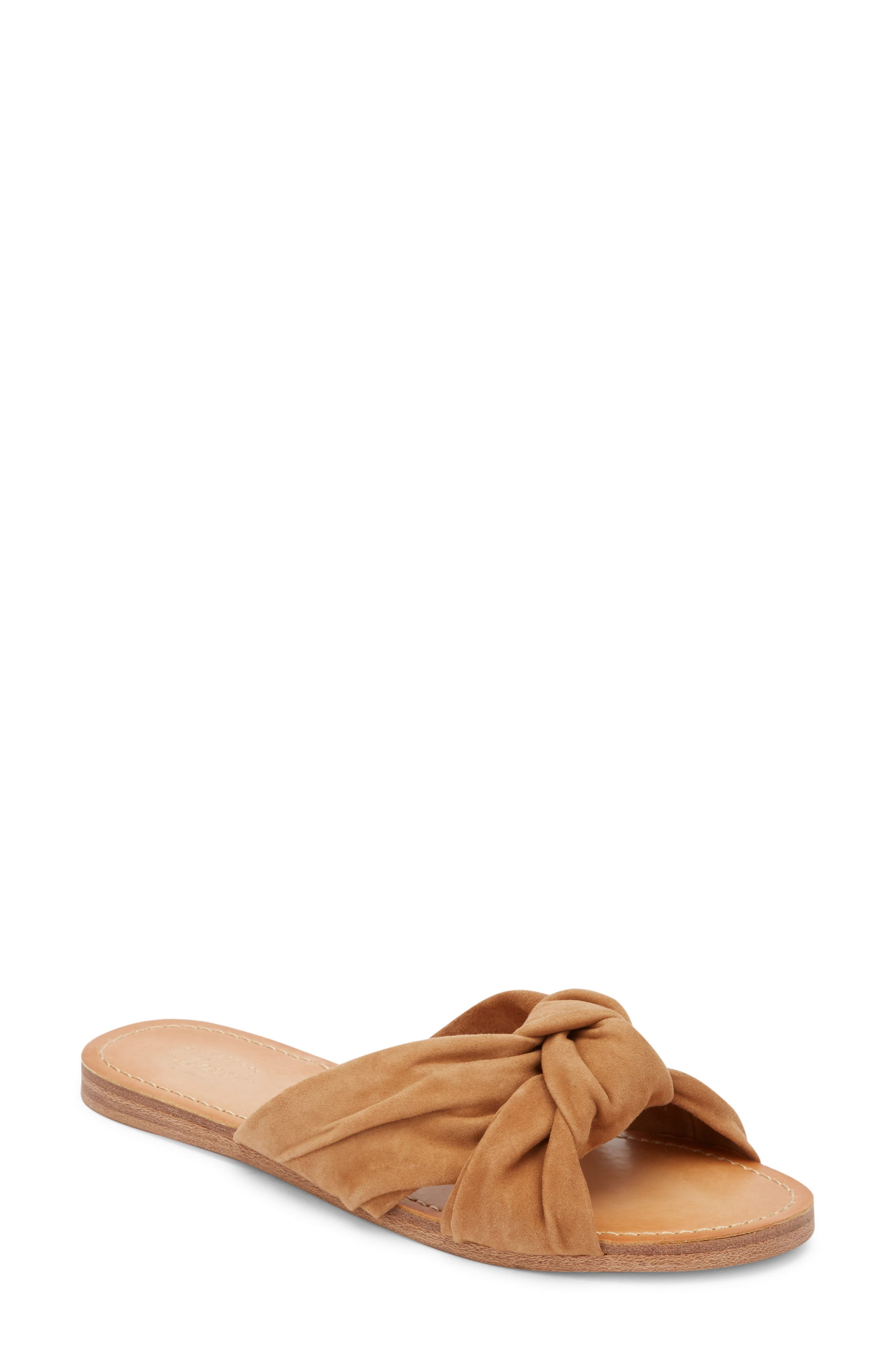 Sophie Knotted Bow Sandal,                             Main thumbnail 1, color,                             TAN SUEDE