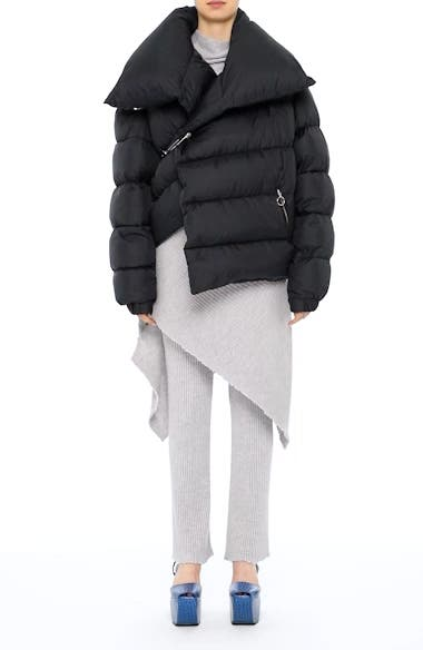 Marques'Almeida Asymmetrical Down Puffer Coat with Safety Pin Closure, video thumbnail