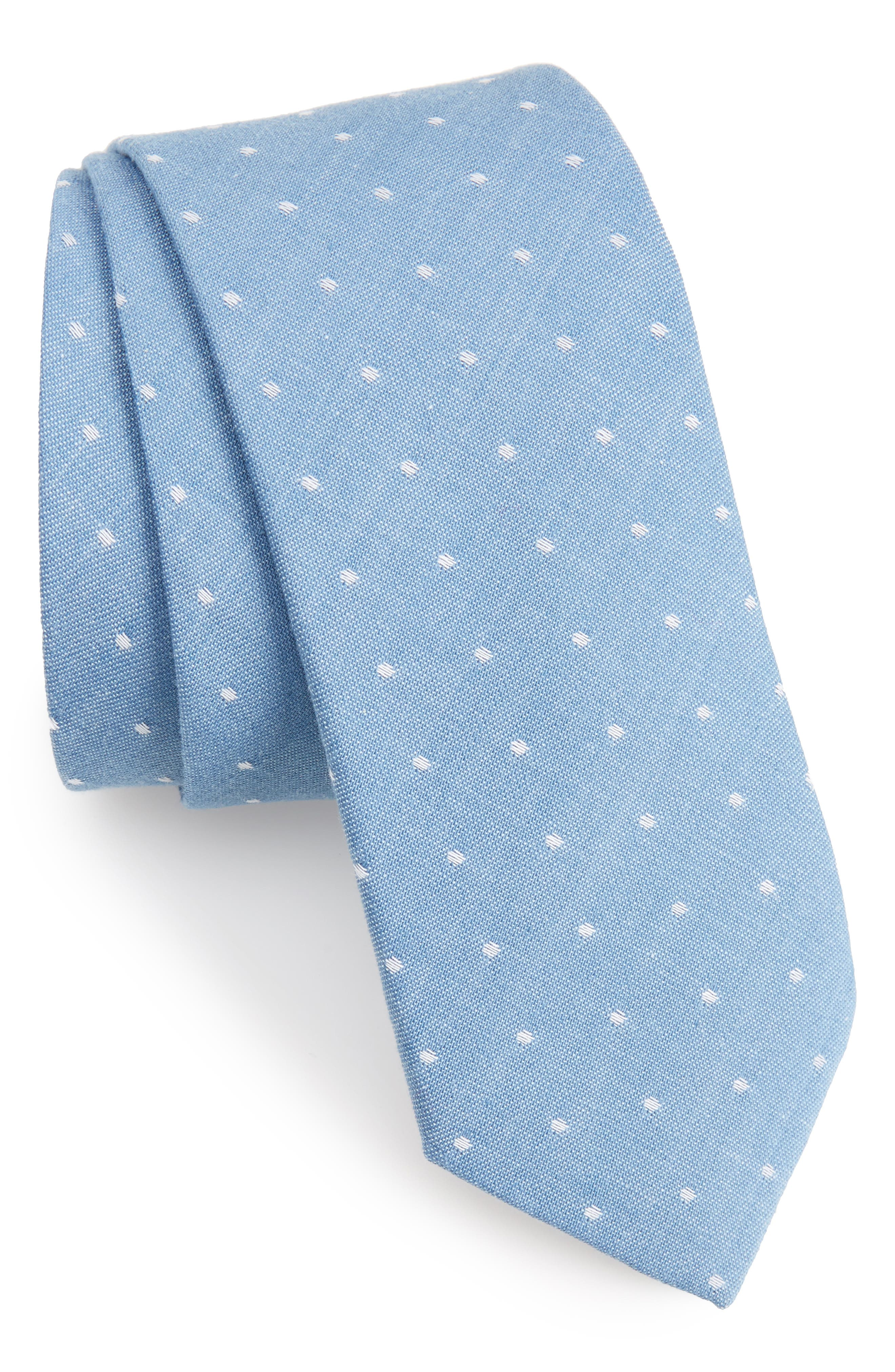 Dot Cotton Skinny Tie,                         Main,                         color, 455