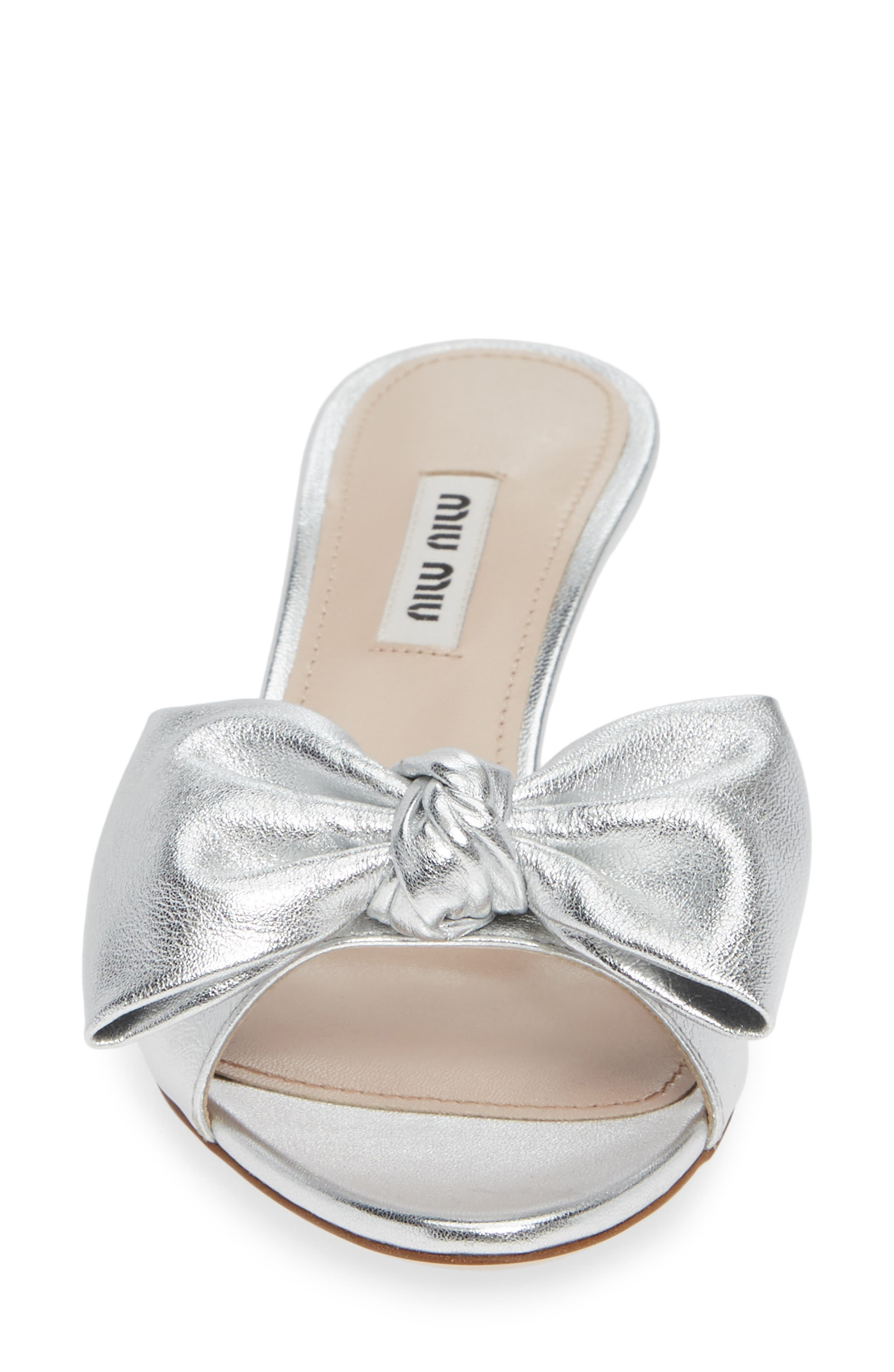 Bow Slide Sandal,                             Alternate thumbnail 4, color,                             SILVER