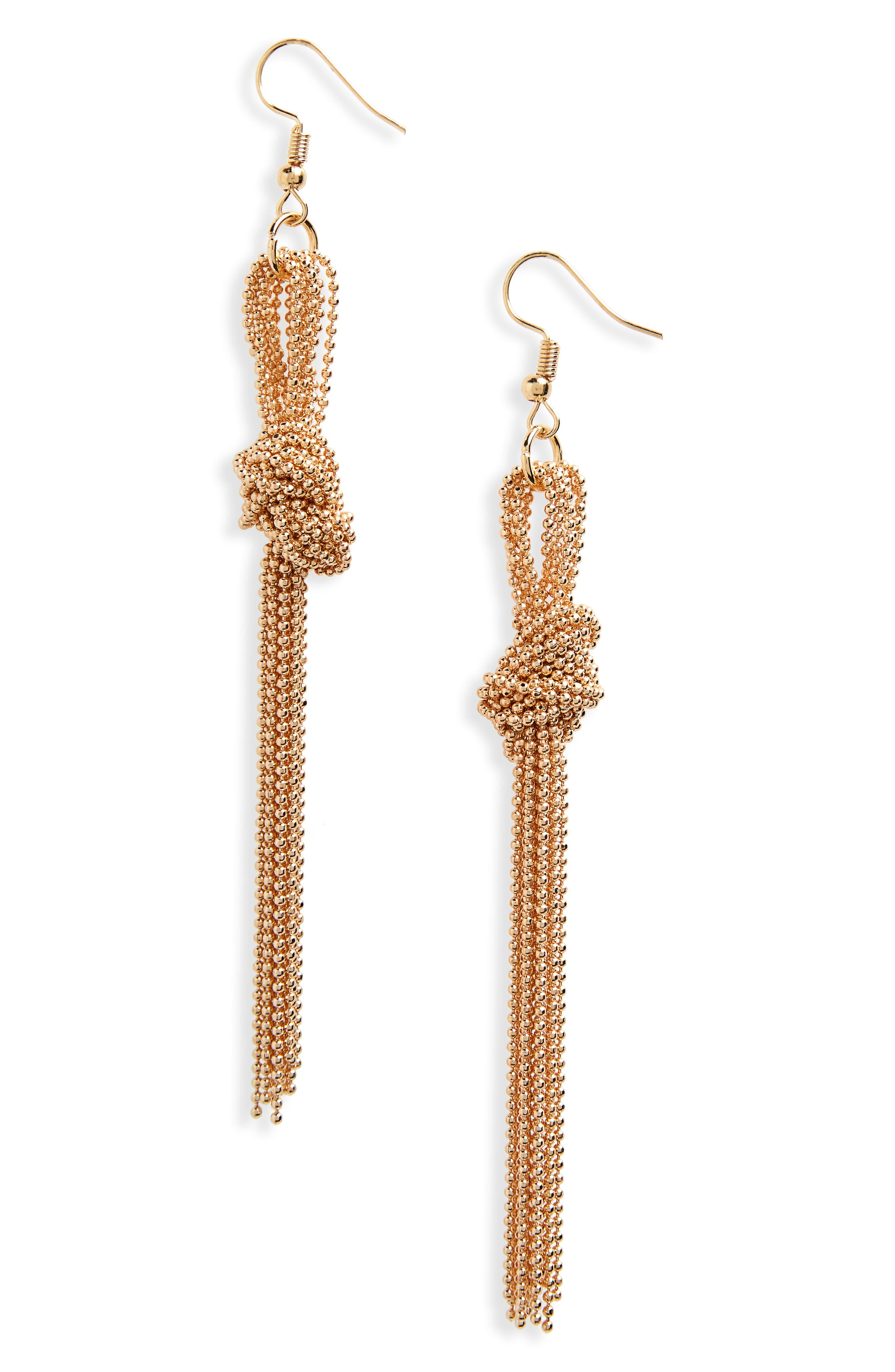 Knotted Bead Chain Linear Earrings,                             Main thumbnail 1, color,                             GOLD