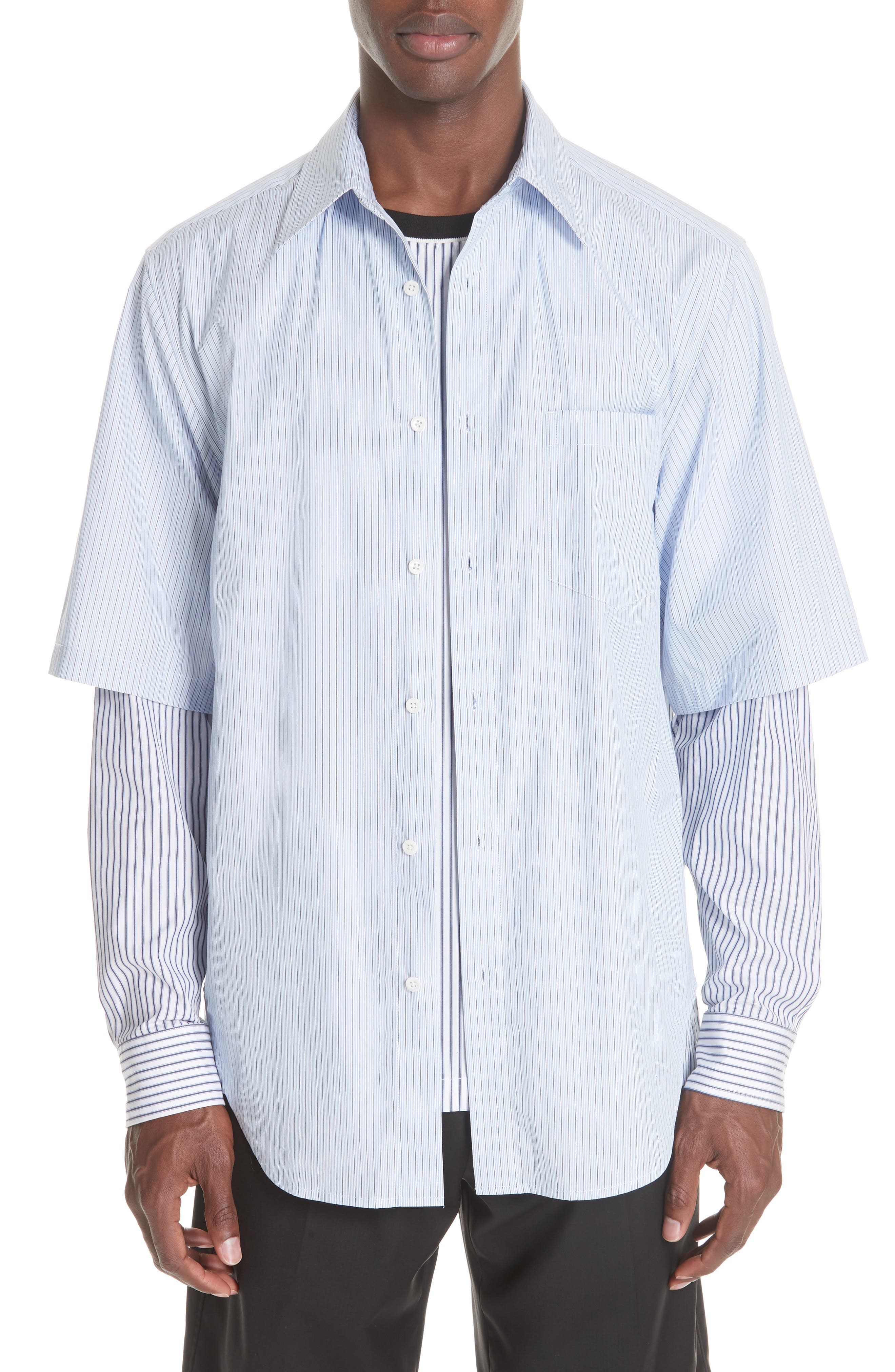 Double Layer Woven Shirt,                         Main,                         color, WHITE