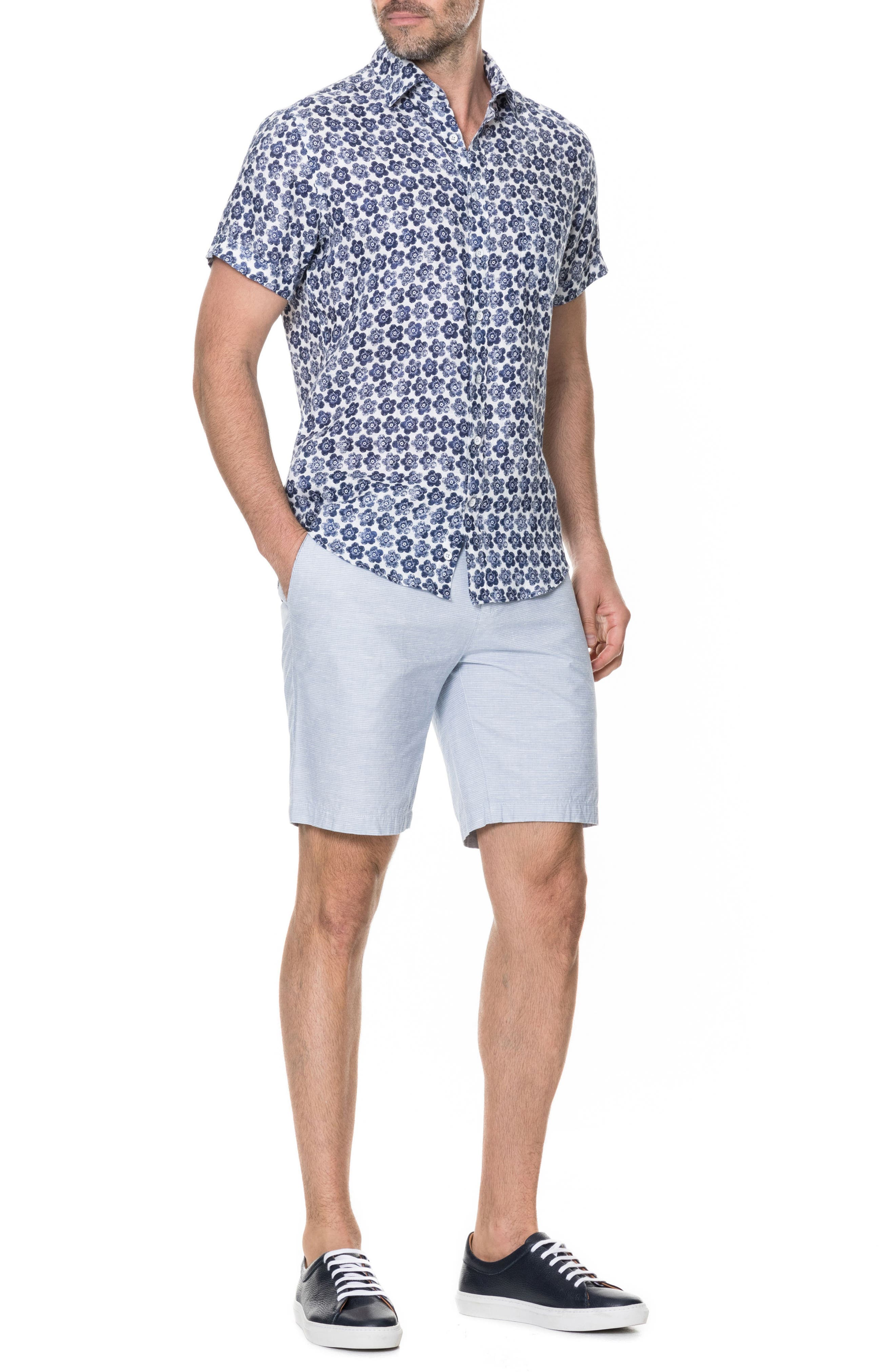 Keyburn Regular Fit Sport Shirt,                             Alternate thumbnail 5, color,                             PEACOAT