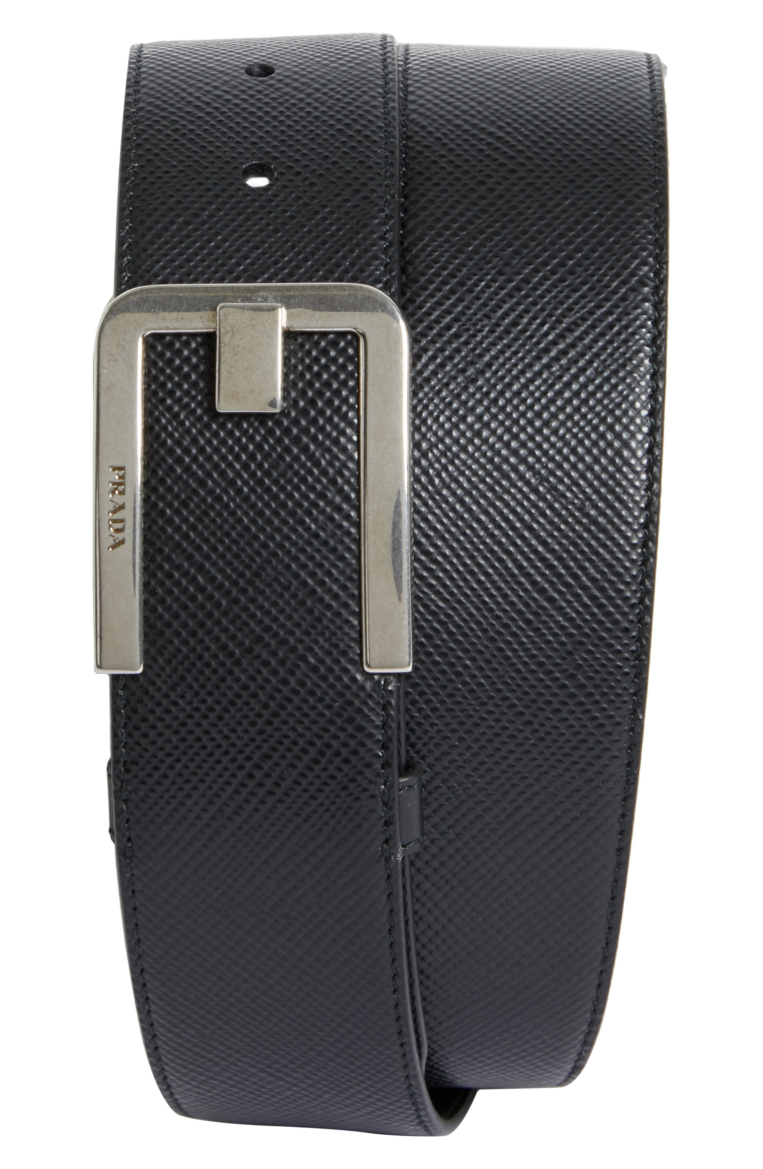 Saffiano Leather Belt, Main, color, BLACK AND SILVER