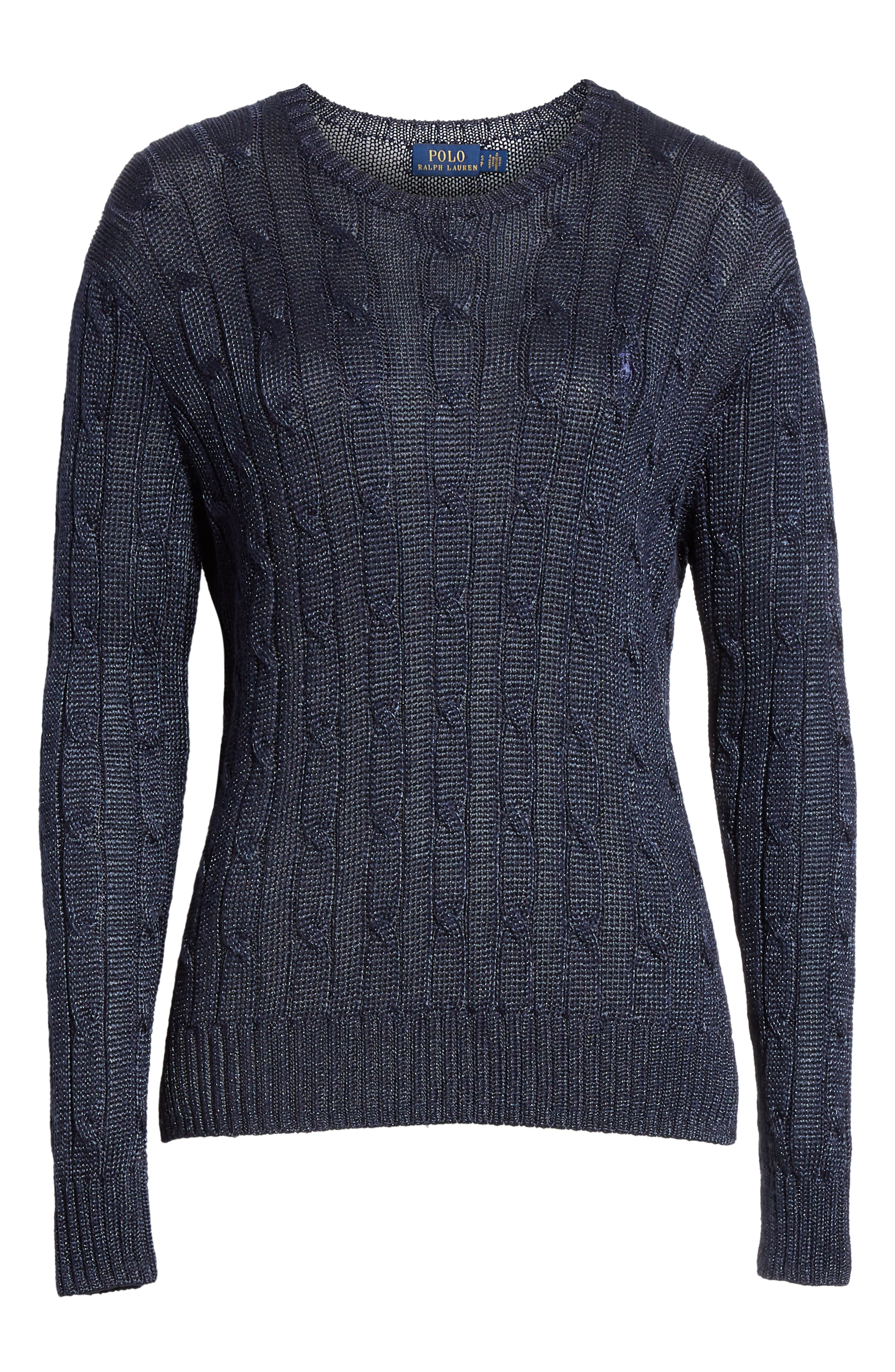 Cable Sweater,                             Alternate thumbnail 6, color,                             NAVY METALLIC