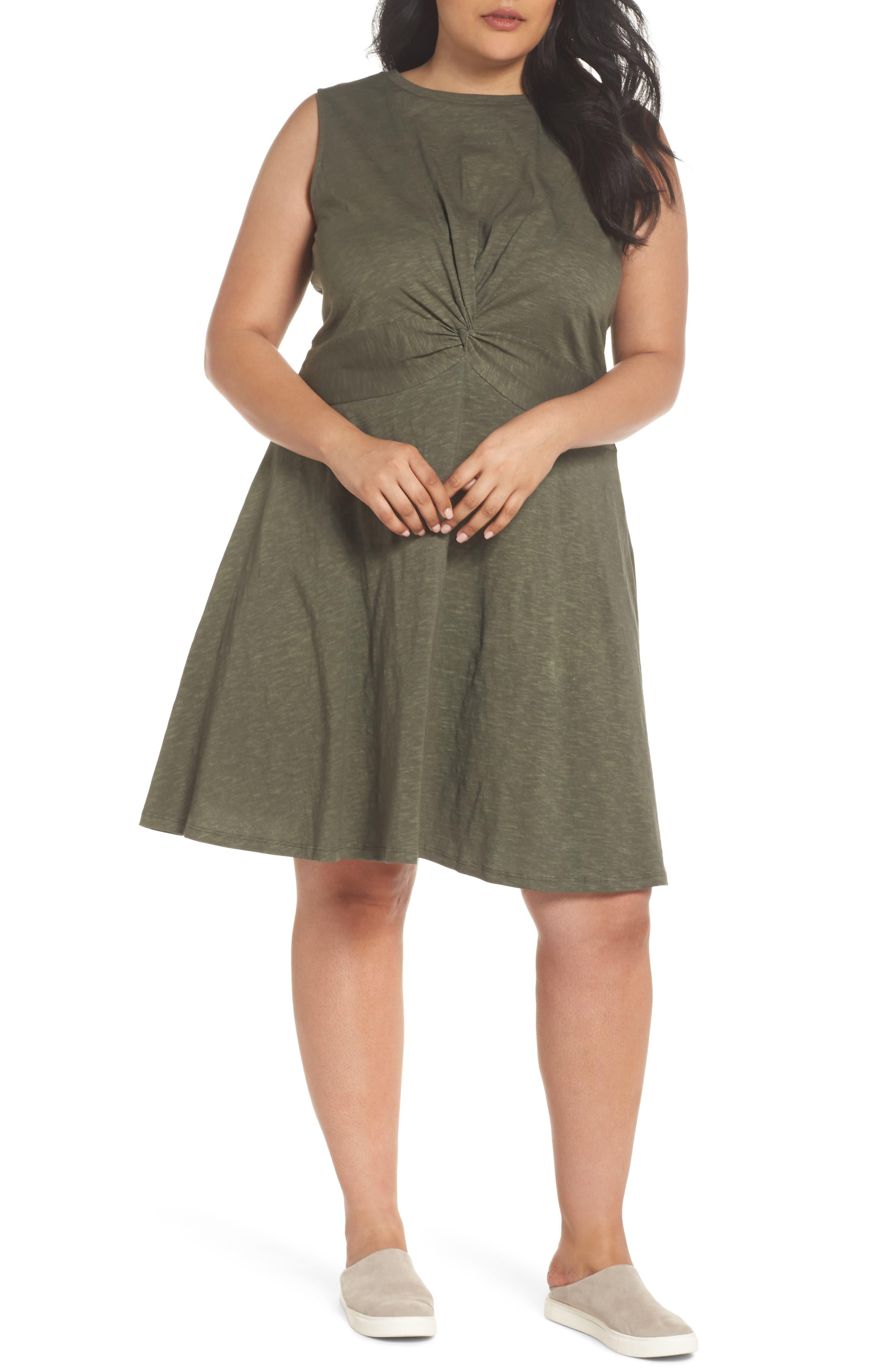 Twist Front Knit Dress,                         Main,                         color, OLIVE SARMA