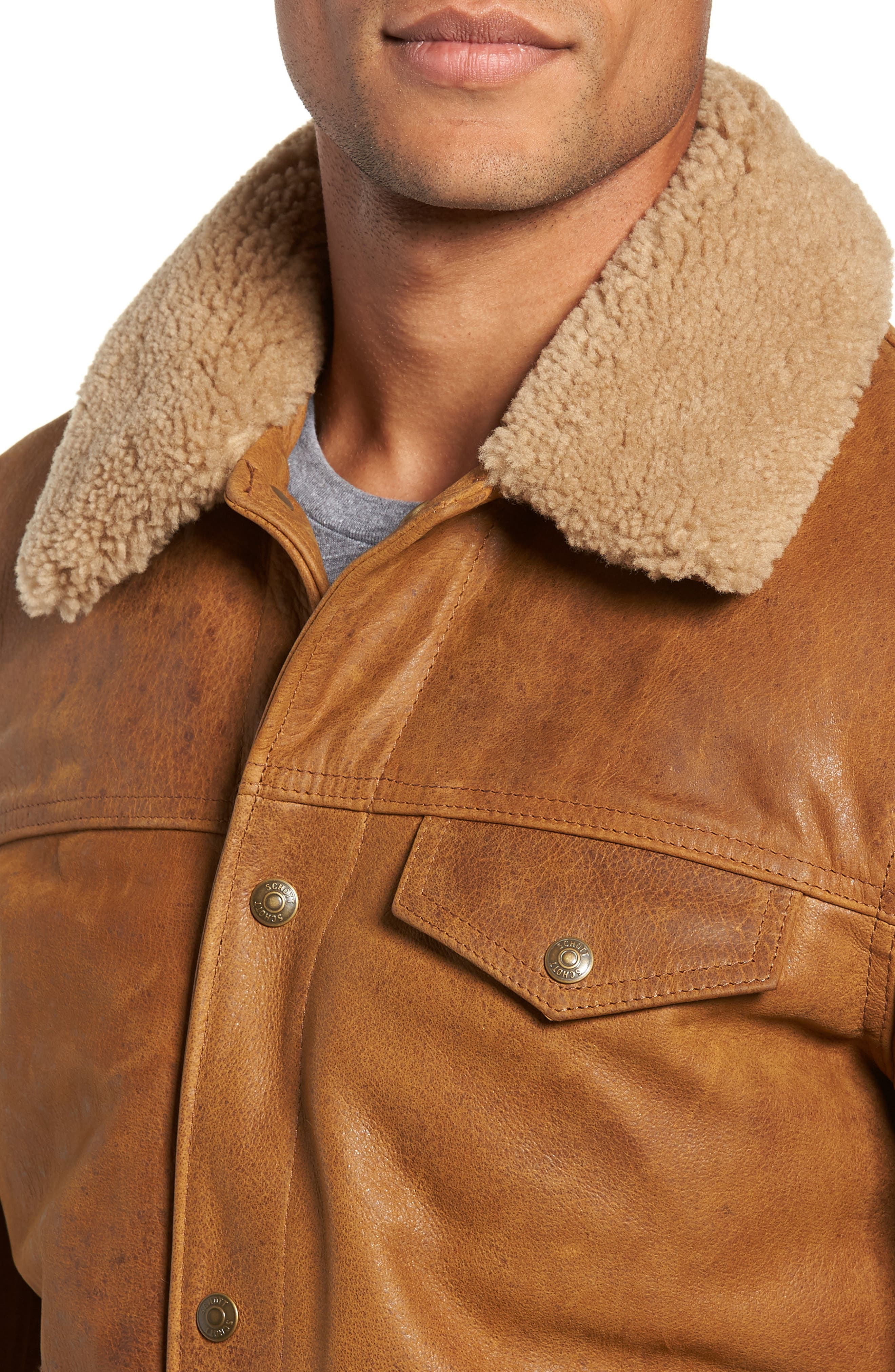 Vintage Buffalo Leather Trucker Jacket with Genuine Sheepskin Collar,                             Alternate thumbnail 4, color,                             SYCAMORE