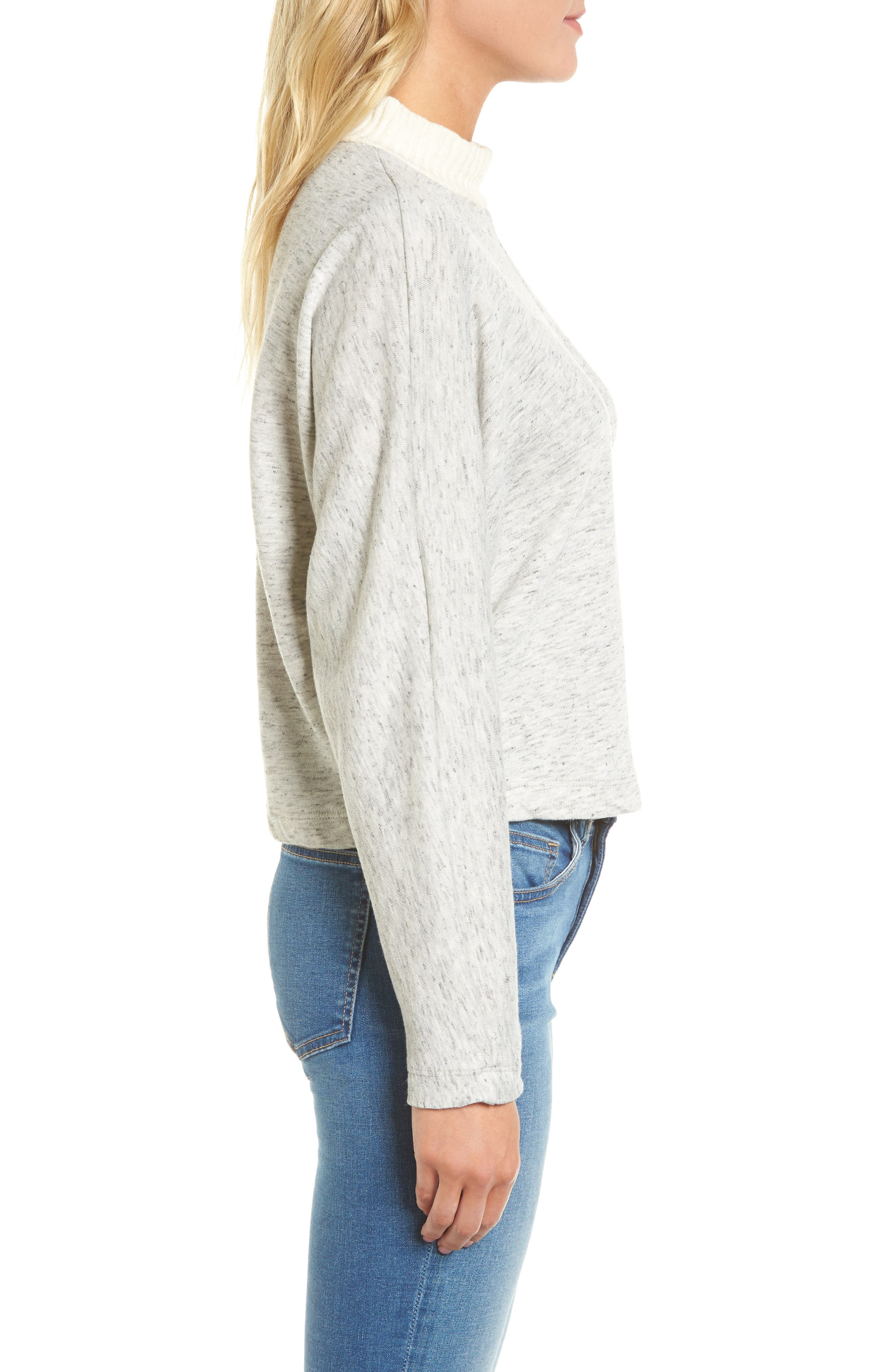 Sidelight Crop Mock Neck Pullover,                             Alternate thumbnail 3, color,                             GREY