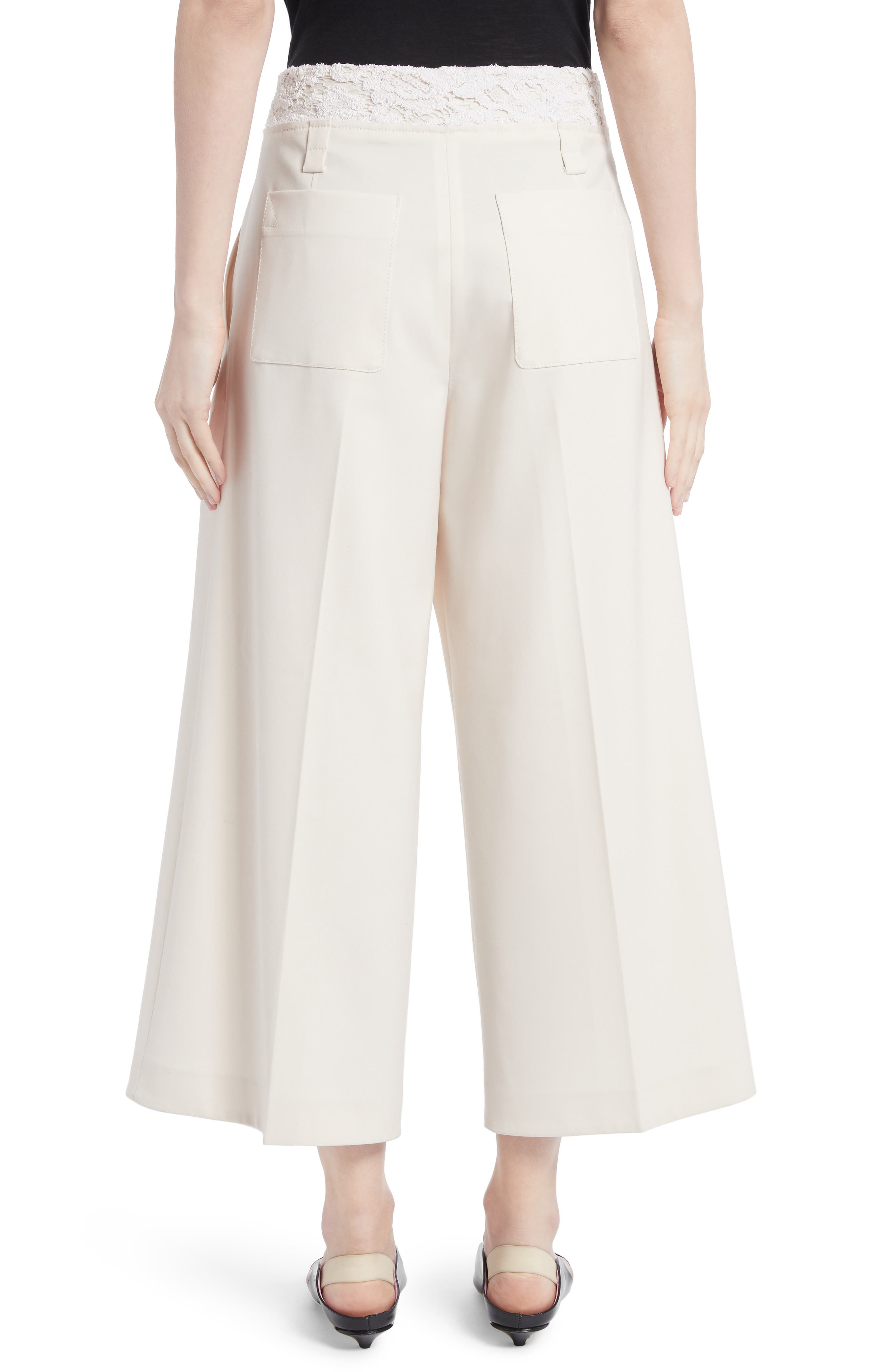 Lace Trim Stretch Wool Culottes,                             Alternate thumbnail 2, color,                             107