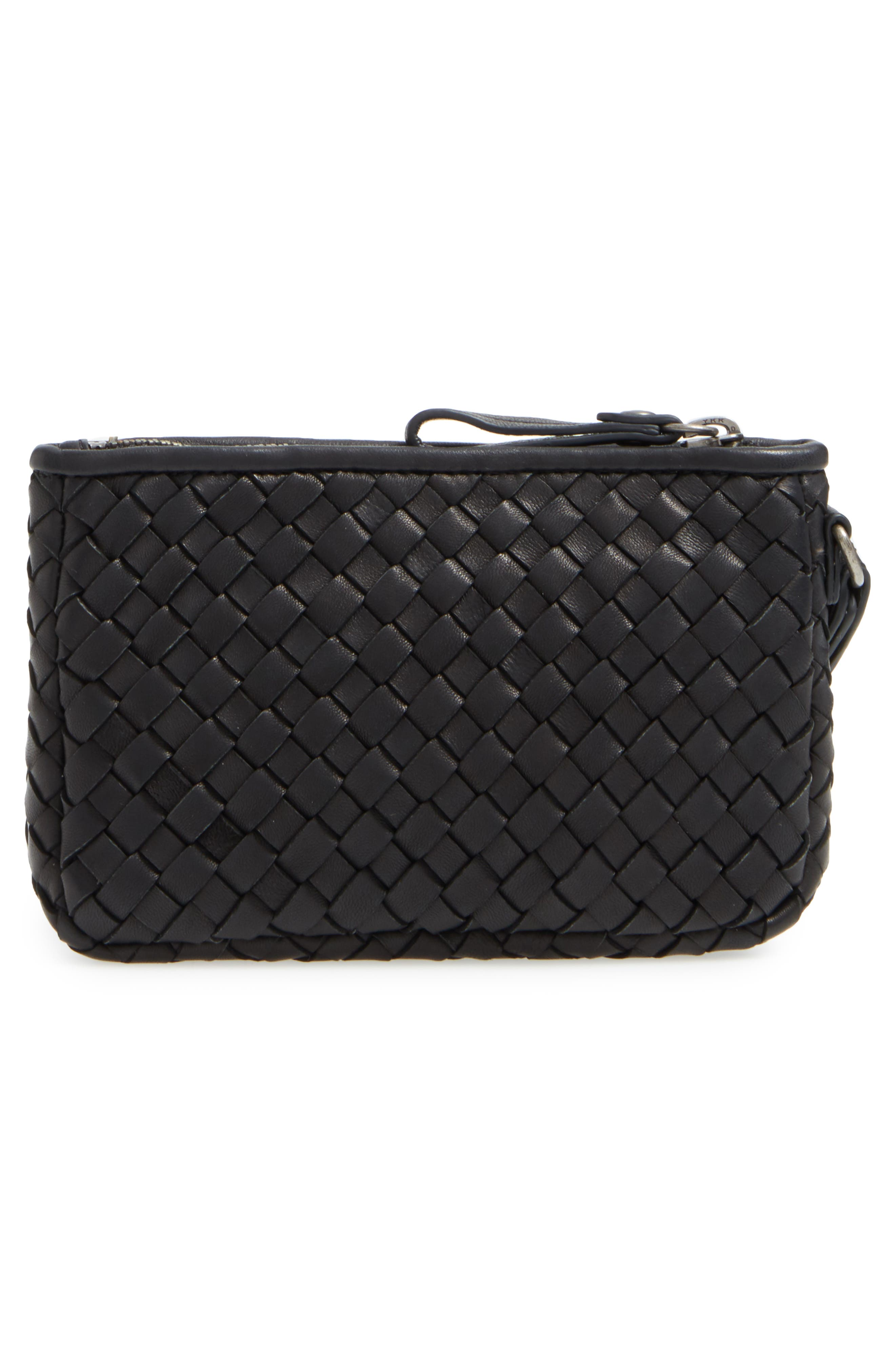 Small Maya Leather Clutch,                             Alternate thumbnail 3, color,                             BLACK