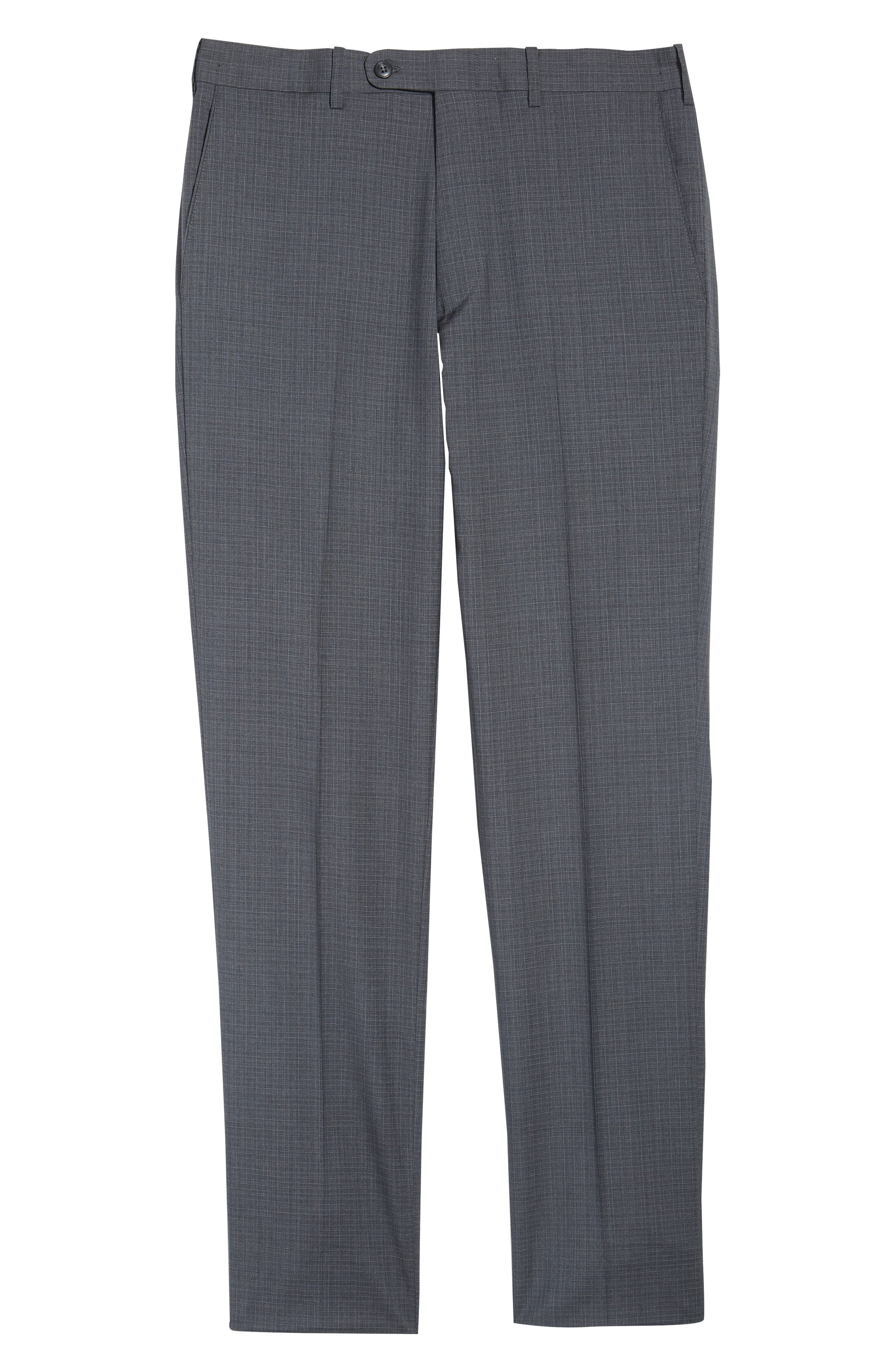 Flat Front Check Wool Trousers,                             Alternate thumbnail 16, color,