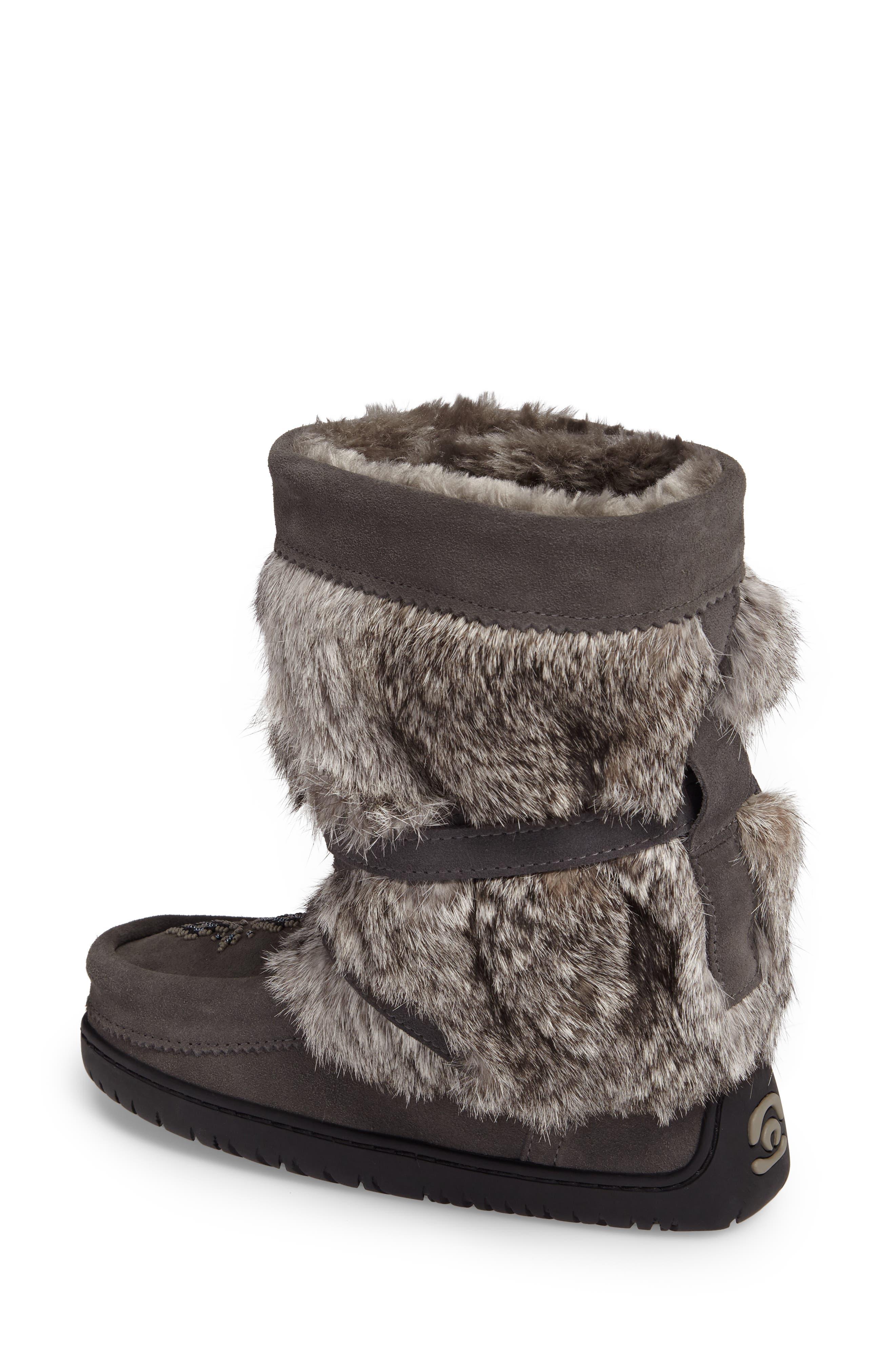 Beaded Short Wrap Genuine Rabbit Fur & Shearling Boot,                             Alternate thumbnail 2, color,                             CHARCOAL FUR