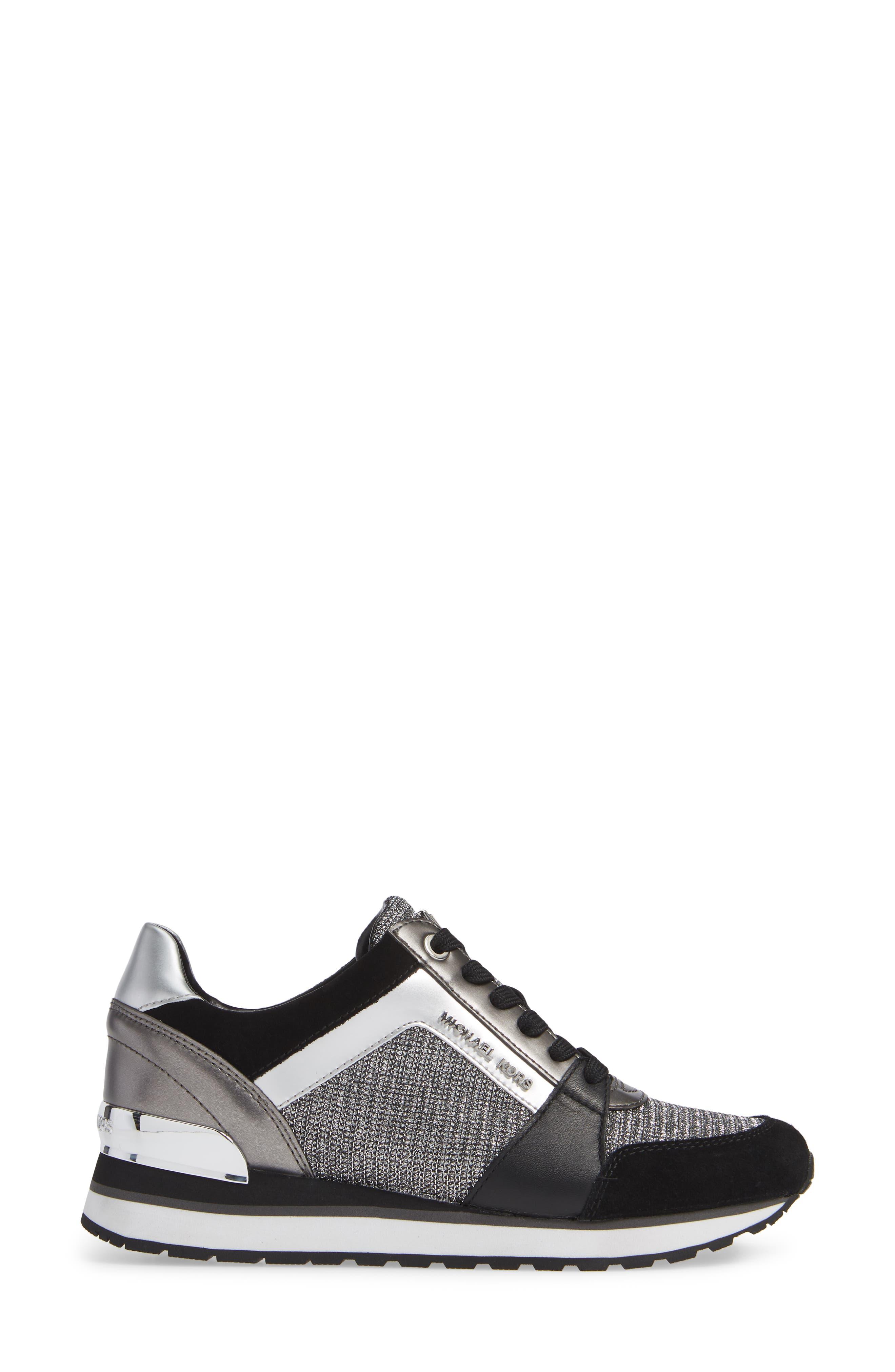 Billie Perforated Sneaker,                             Alternate thumbnail 3, color,                             BLACK/ SILVER