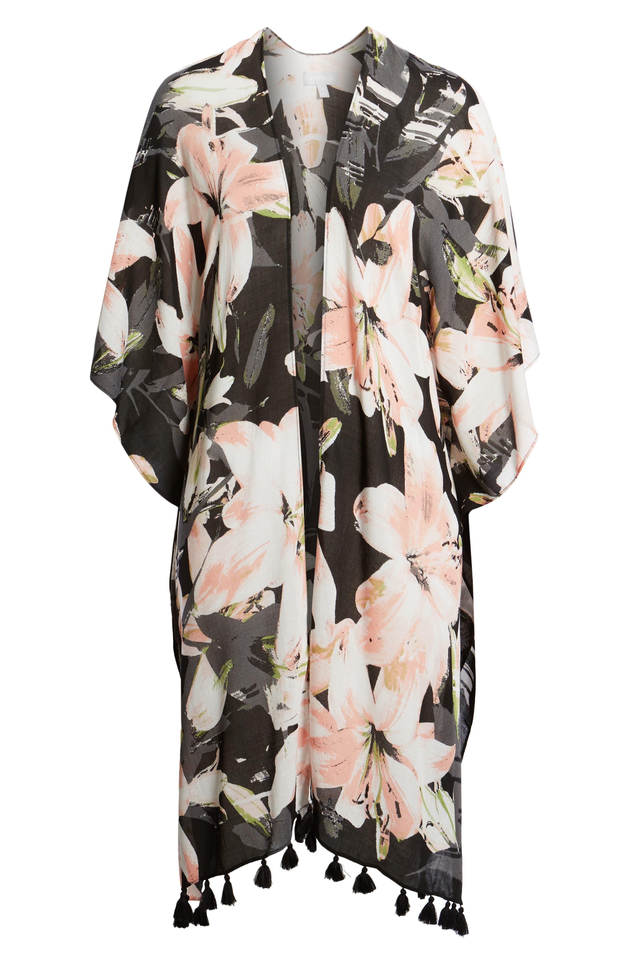 NORDSTROM,                             Print Kimono Wrap,                             Alternate thumbnail 7, color,                             BLACK DIGI FLORA