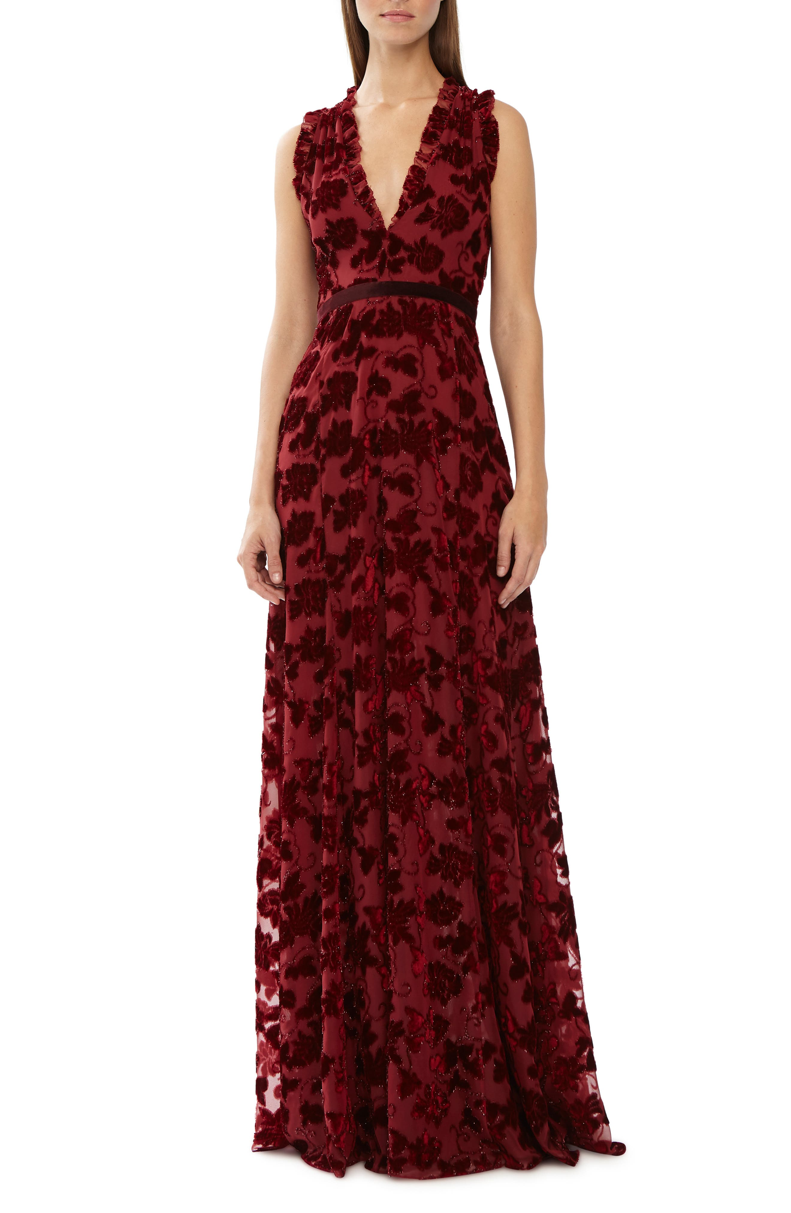 Ml Monique Lhuillier Red Mesh Velvet Gown