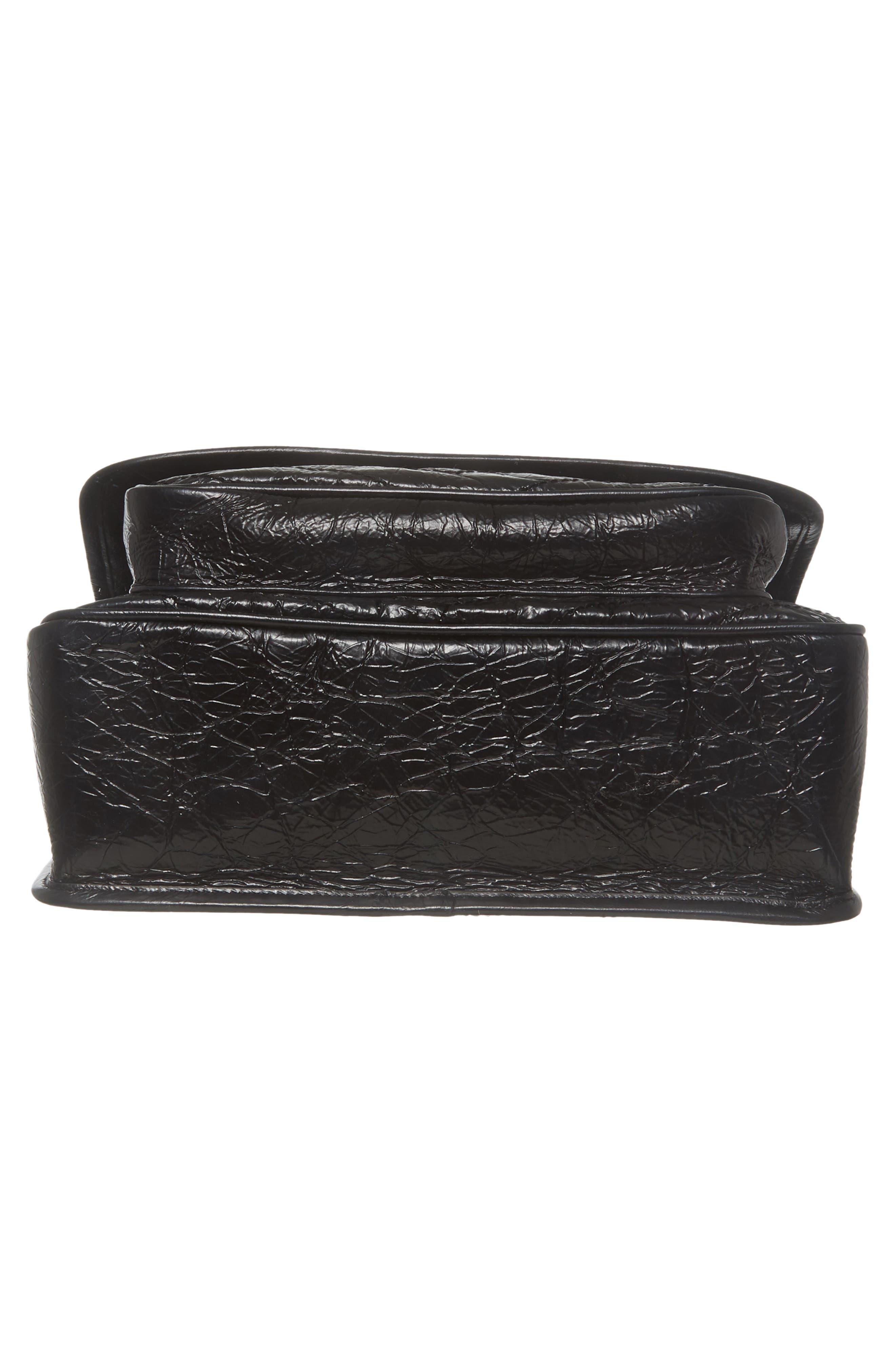 Medium Niki Leather Shoulder Bag,                             Alternate thumbnail 6, color,                             BLACK