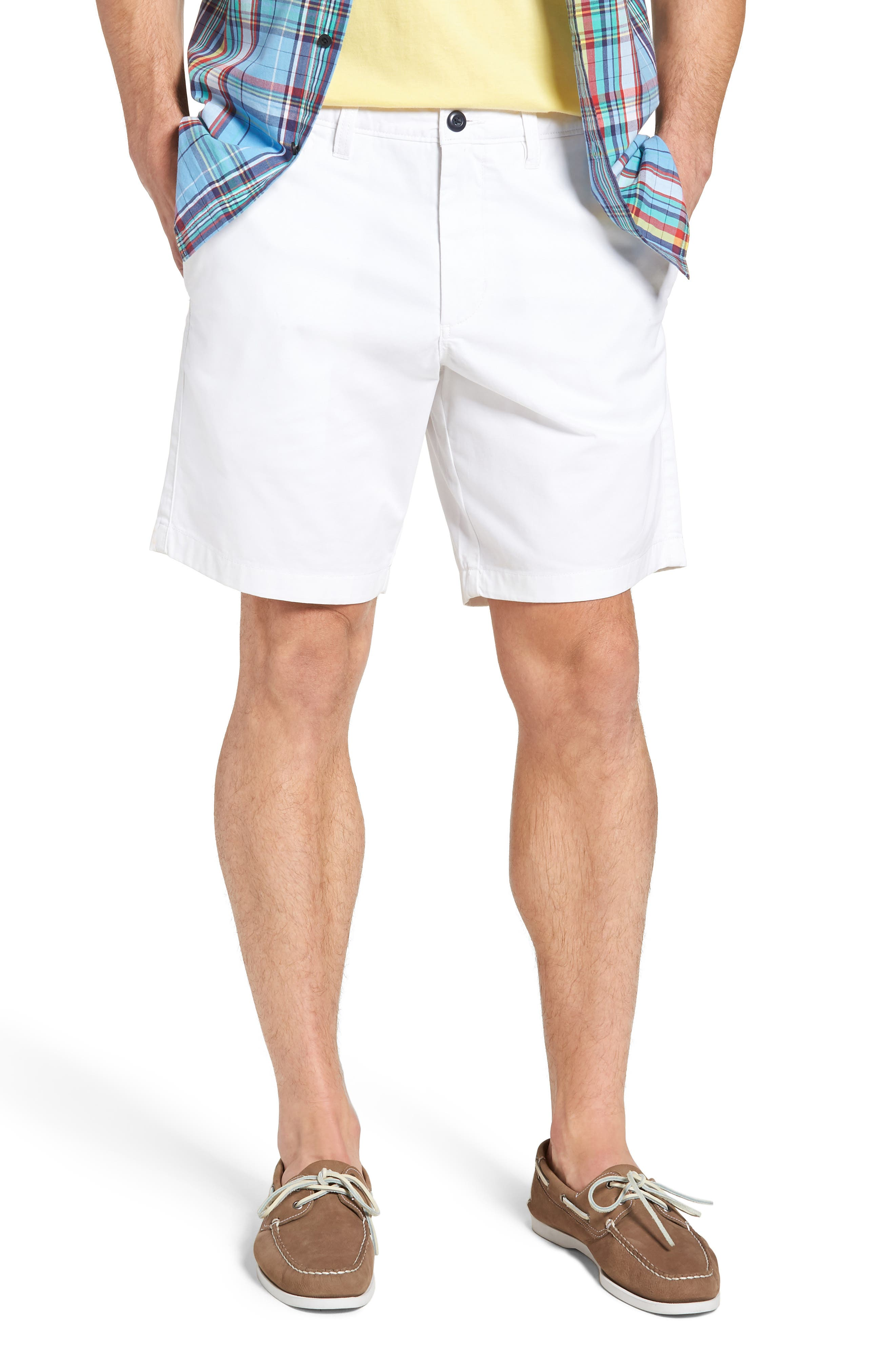 Ballard Slim Fit Stretch Chino 9-Inch Shorts,                             Main thumbnail 1, color,                             WHITE