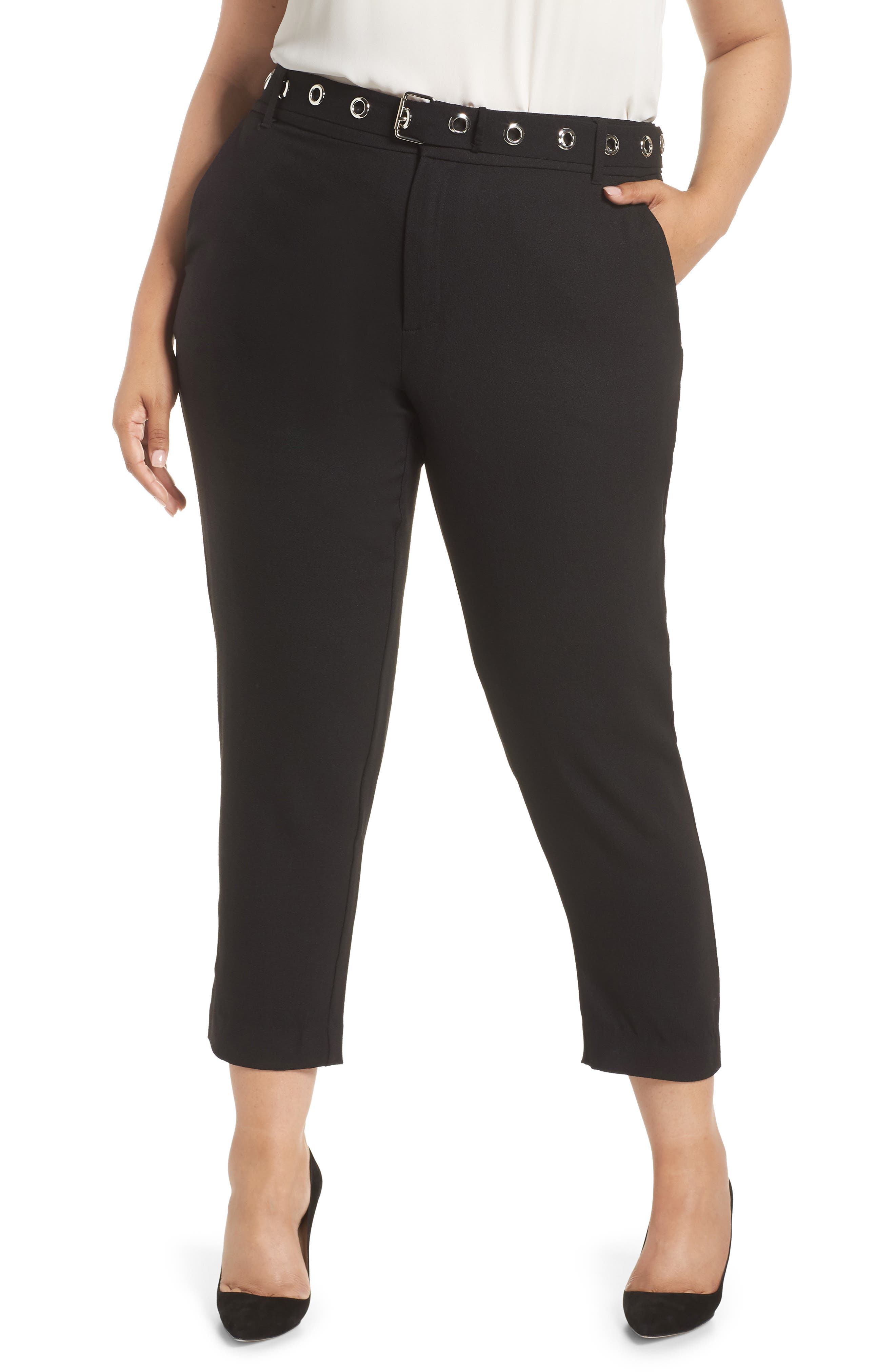 Grace Grommet Belt Pants,                         Main,                         color, BLACK