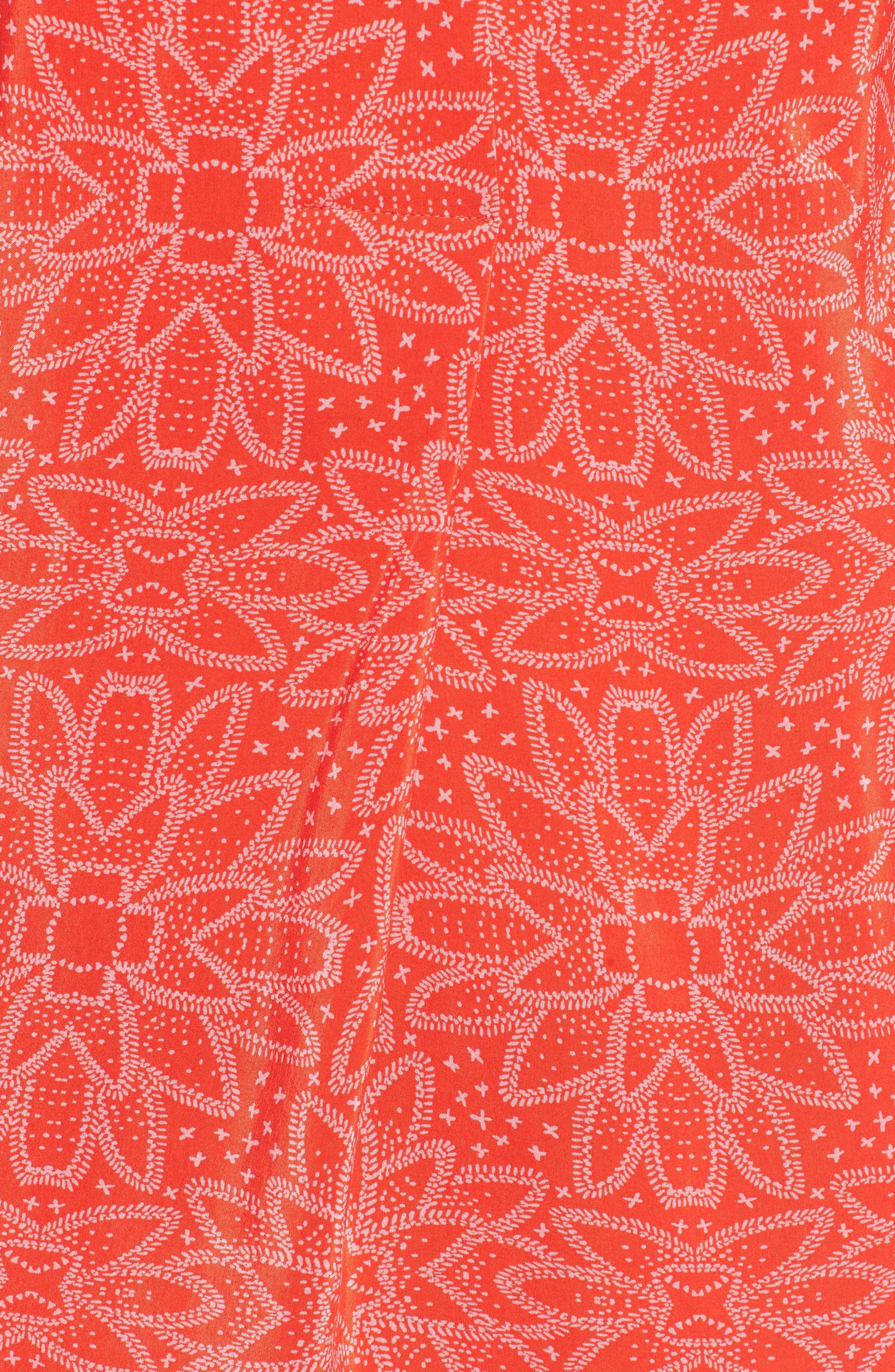 Luna Riya Print Dress,                             Alternate thumbnail 5, color,                             RED/ MULTI