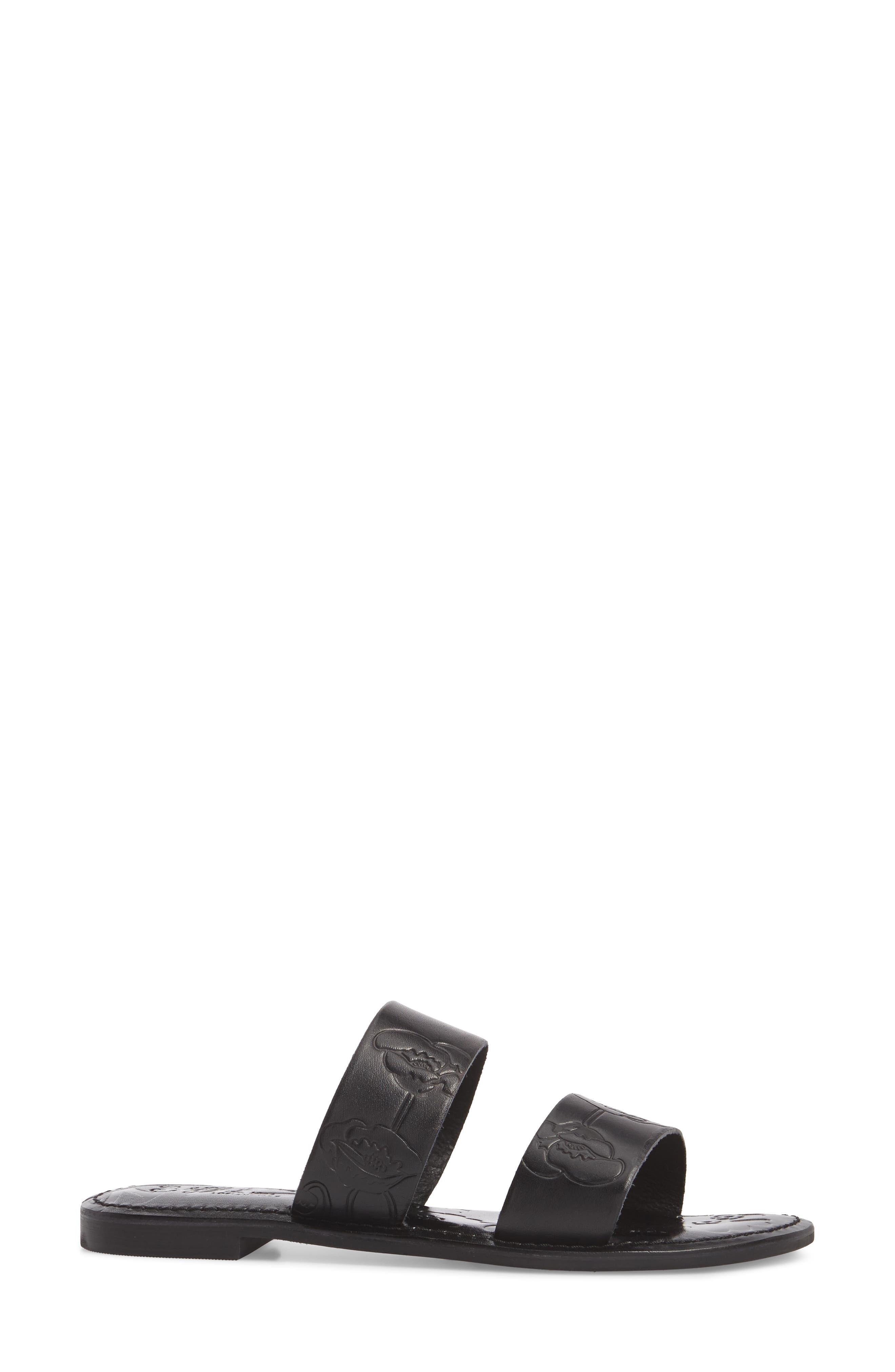 Sheroes Slide Sandal,                             Alternate thumbnail 3, color,                             BLACK LEATHER