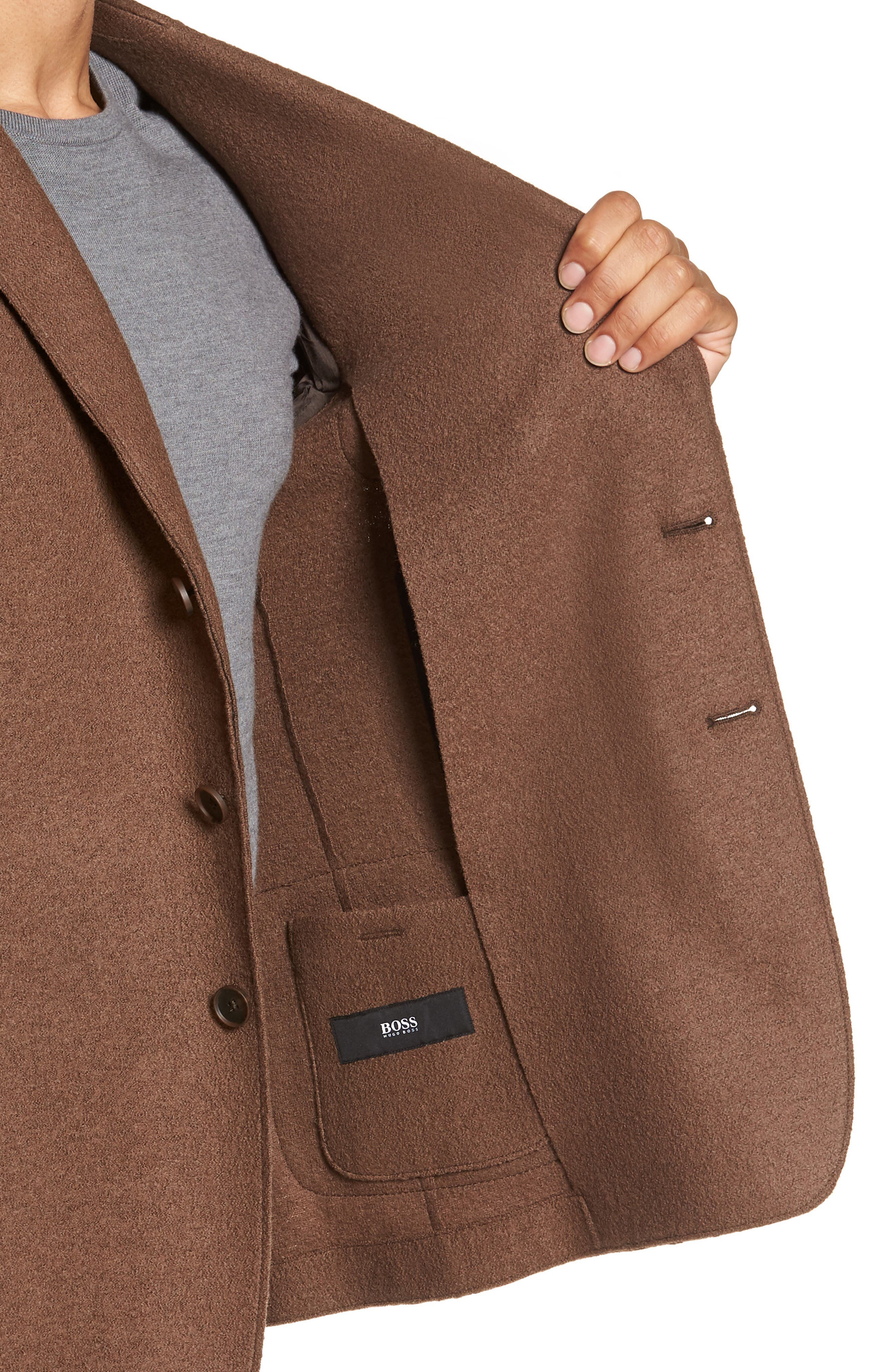 Nixan Trim Fit Wool Sport Coat,                             Alternate thumbnail 4, color,                             LIGHT/ PASTEL BROWN