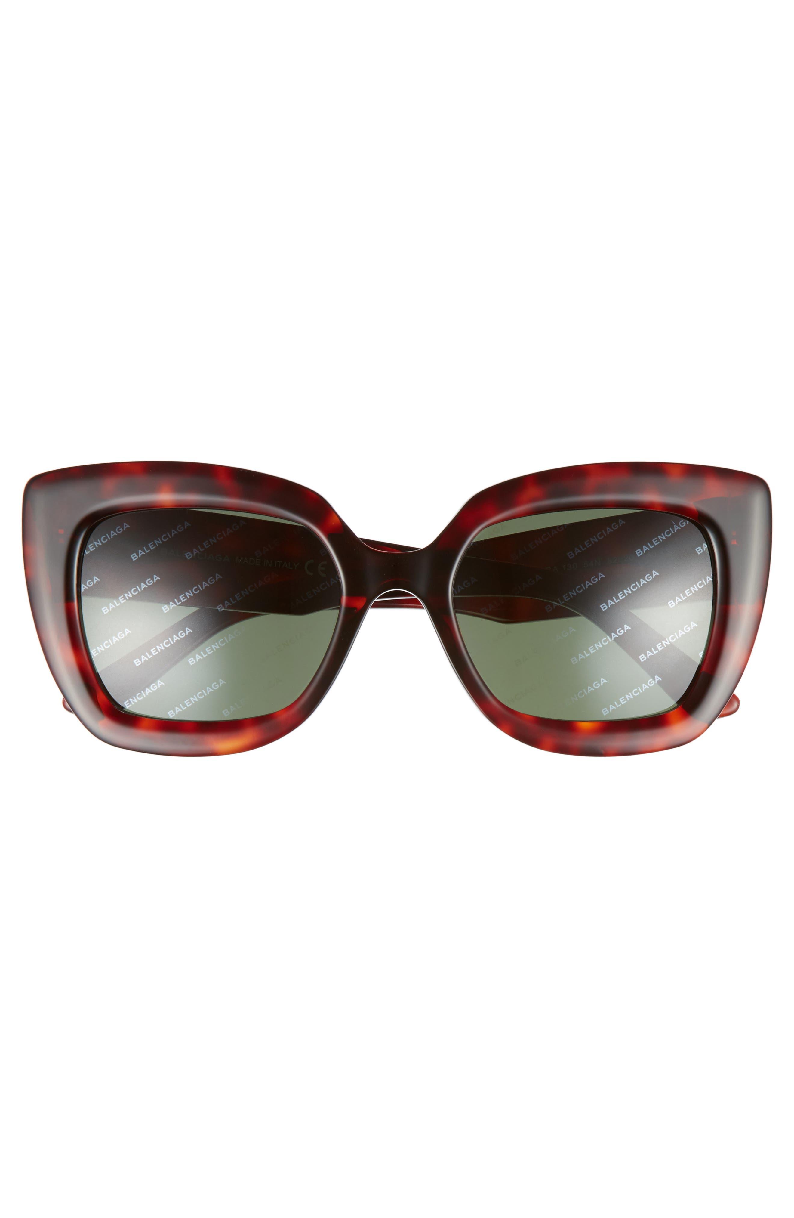 52mm Cat Eye Sunglasses,                             Alternate thumbnail 3, color,                             RED HAVANA/ GREEN
