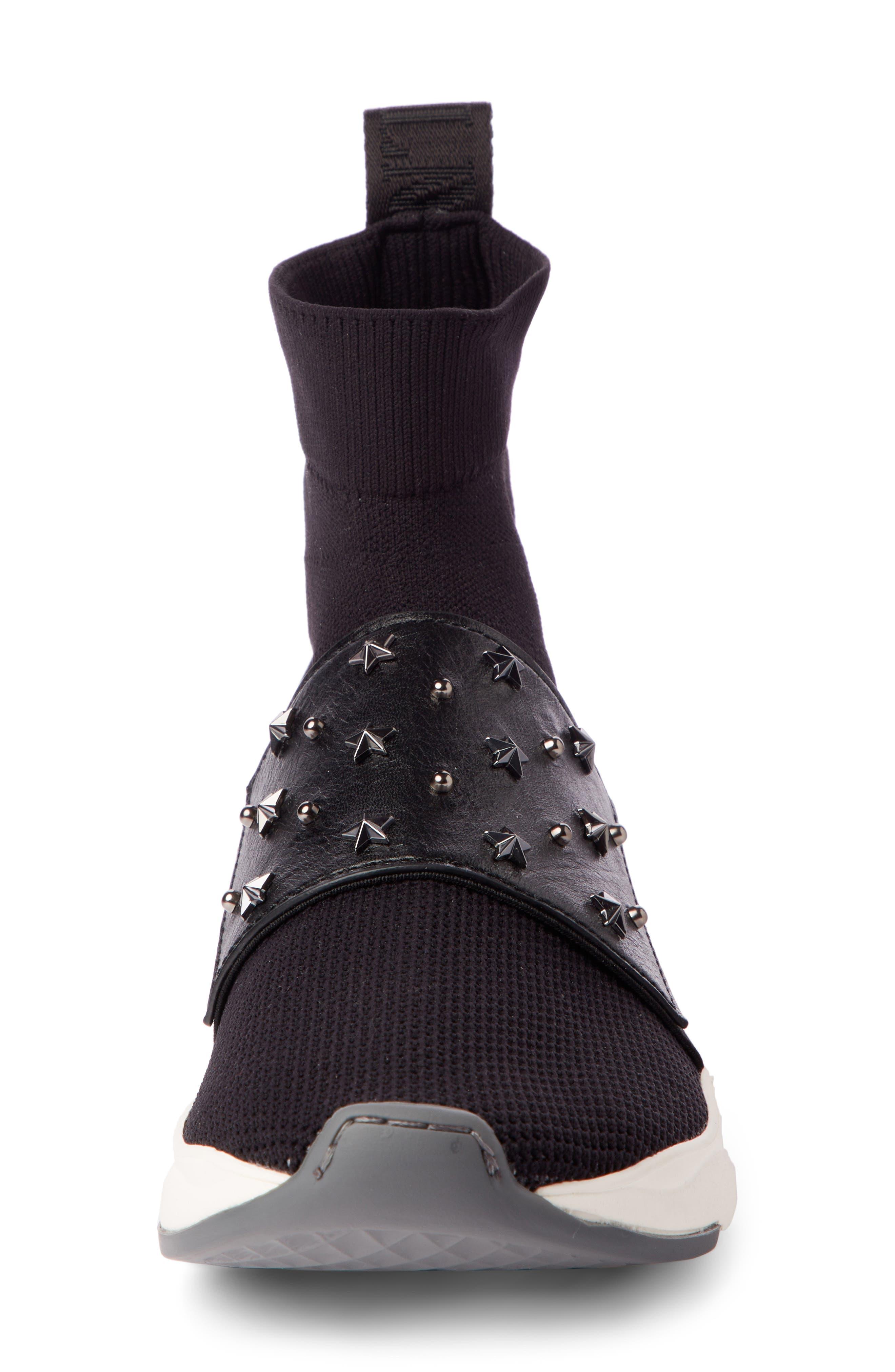 Cameron Studded Sock Sneaker,                             Alternate thumbnail 4, color,                             BLACK