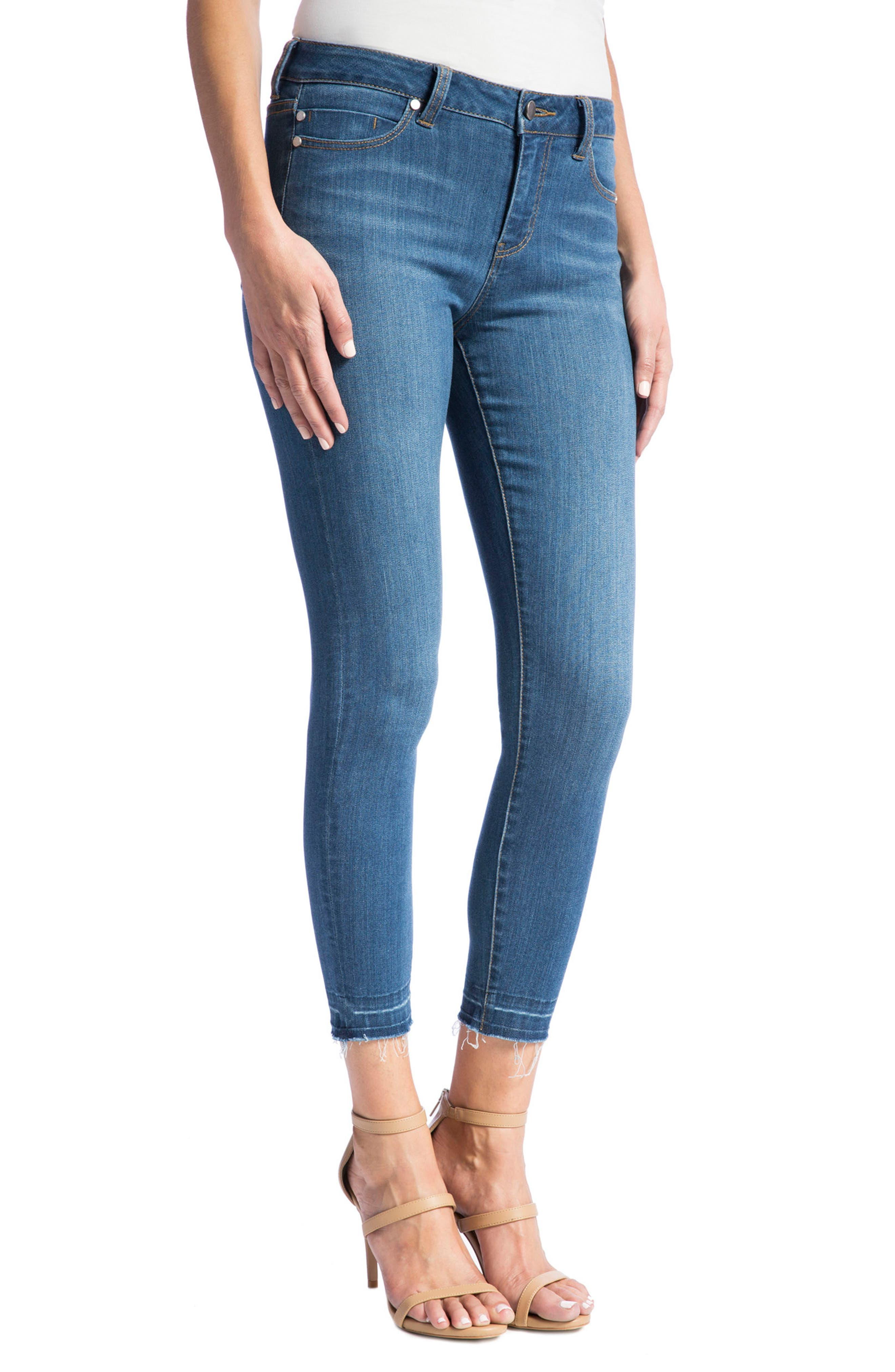 Avery High Rise Release Hem Stretch Crop Skinny Jeans,                             Alternate thumbnail 3, color,                             401