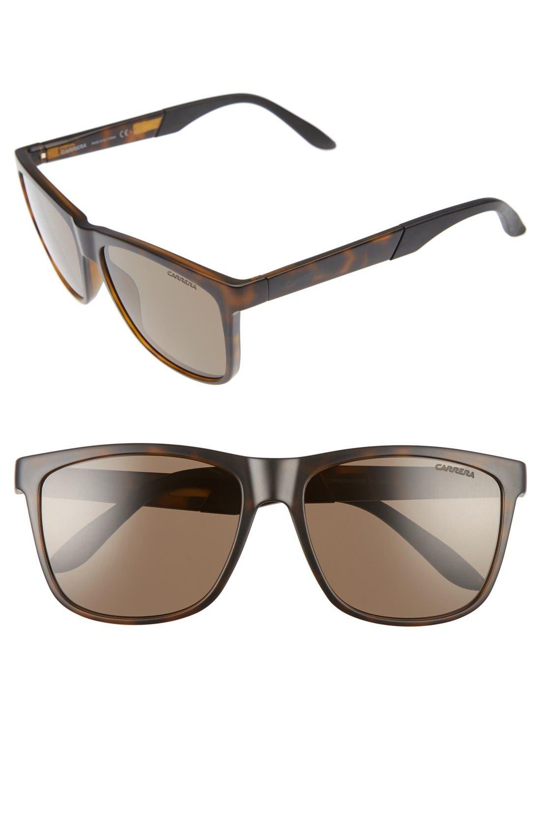 CARRERA EYEWEAR 8022/S 56mm Polarized Sunglasses, Main, color, HAVANA