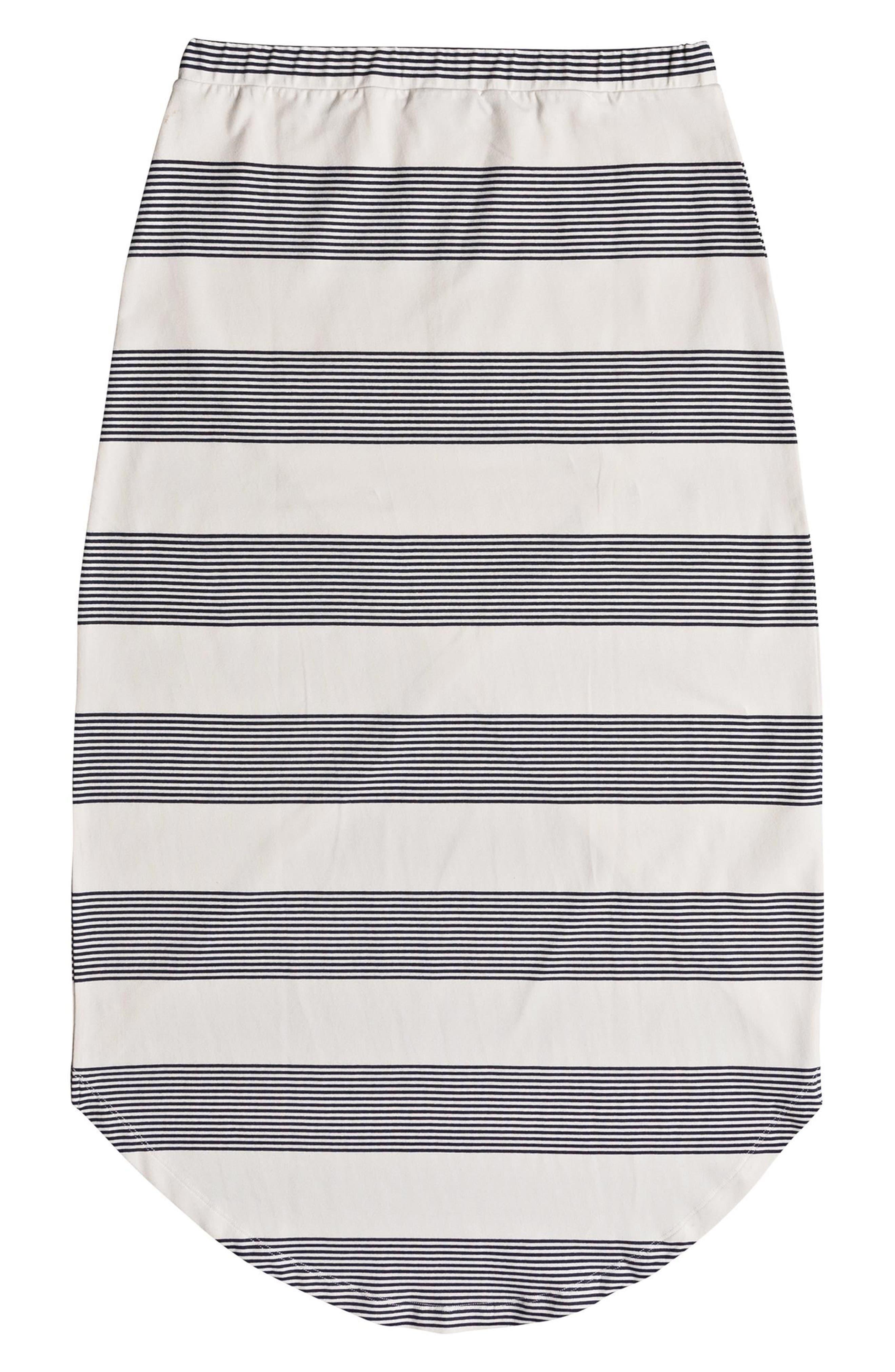 Romantic Ocean Stripe High/Low Skirt,                             Alternate thumbnail 5, color,                             900