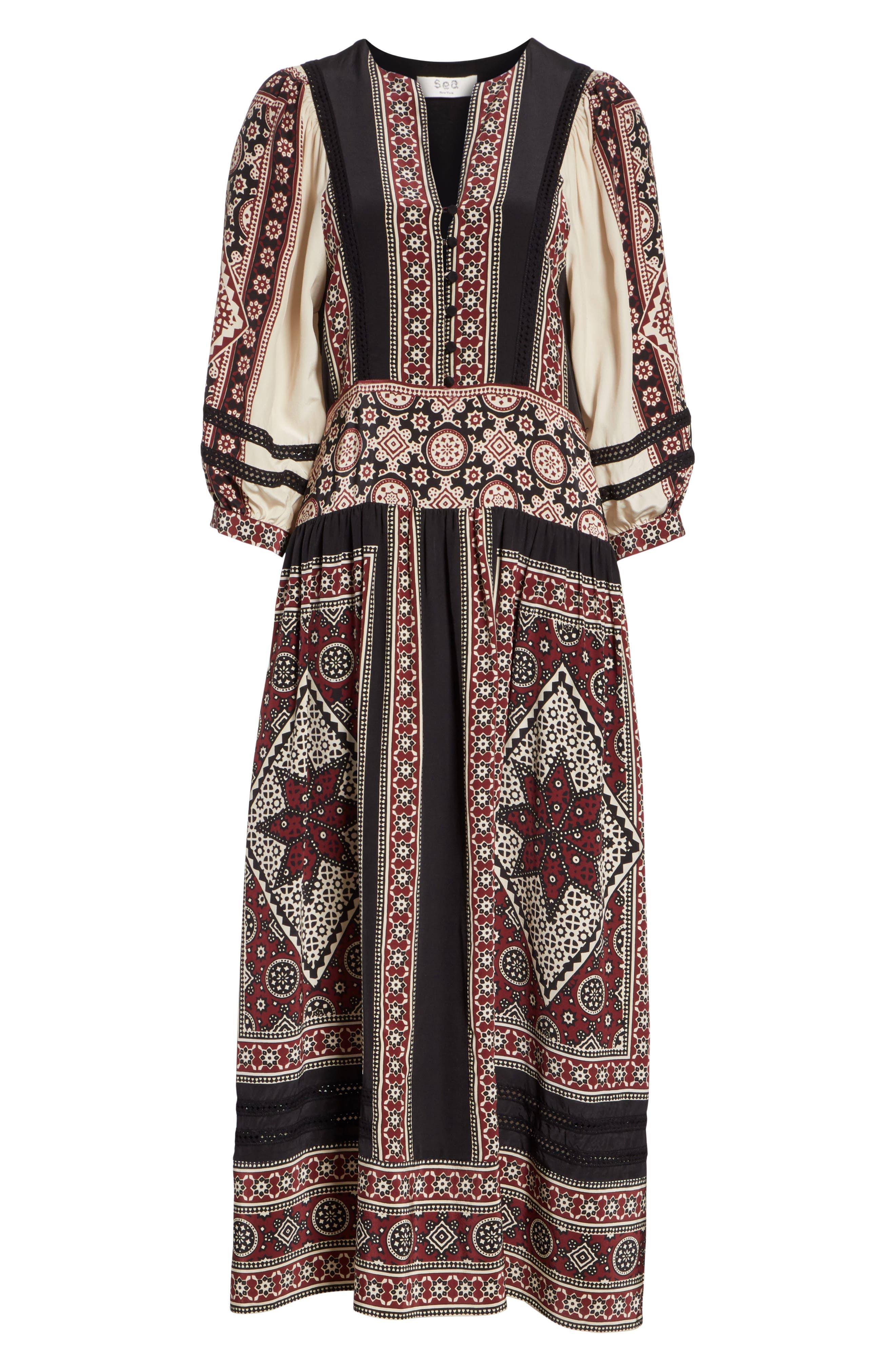 Ezri Print Midi Dress,                             Alternate thumbnail 6, color,                             BRICK MULTI
