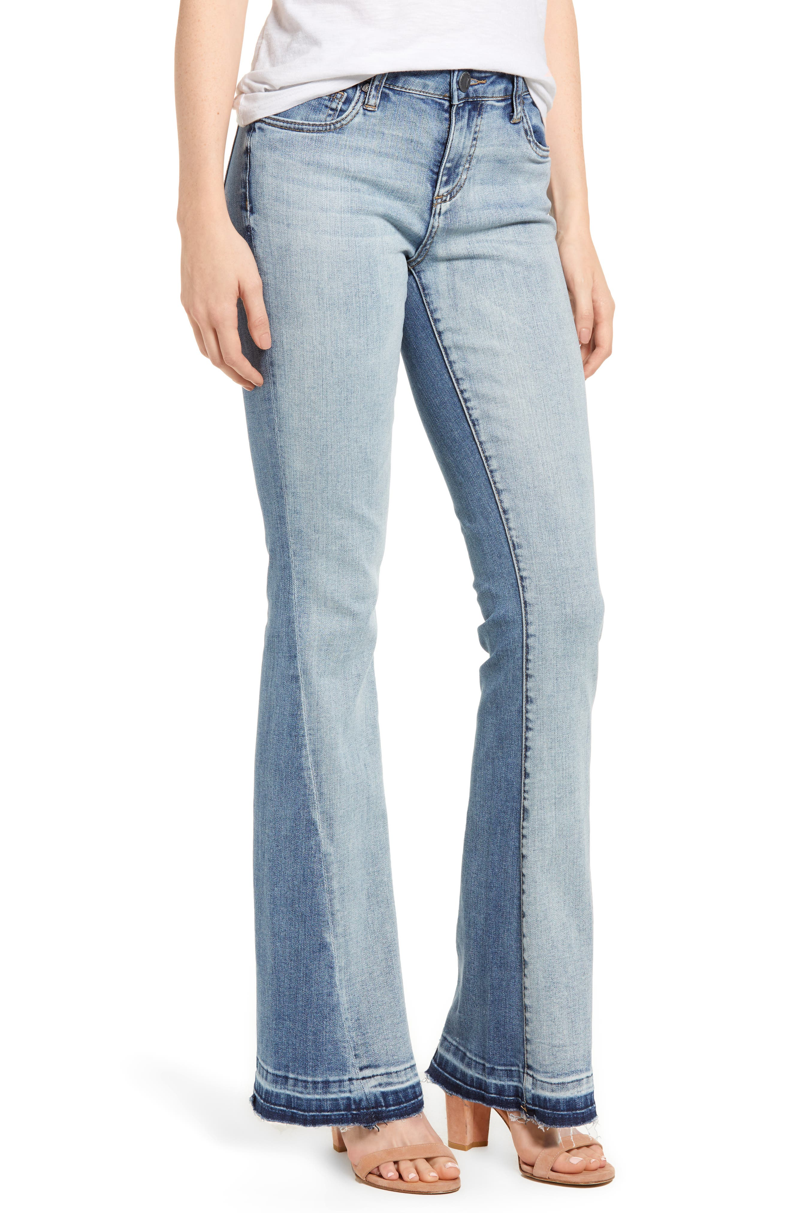 Baby Bootcut Contrast Release Hem Jeans,                         Main,                         color, 464