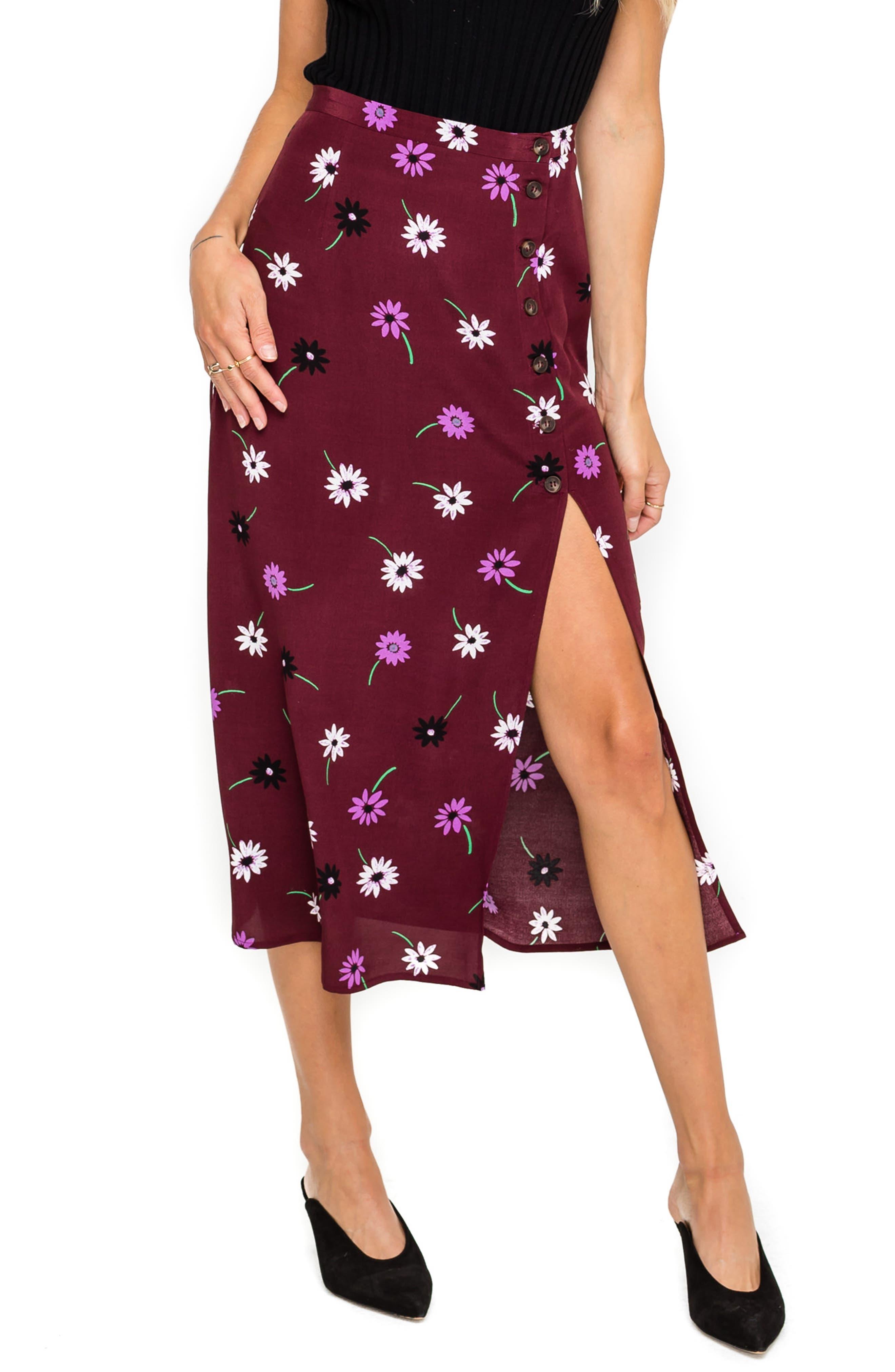 Astr The Label Button Side Slit Midi Skirt, Burgundy
