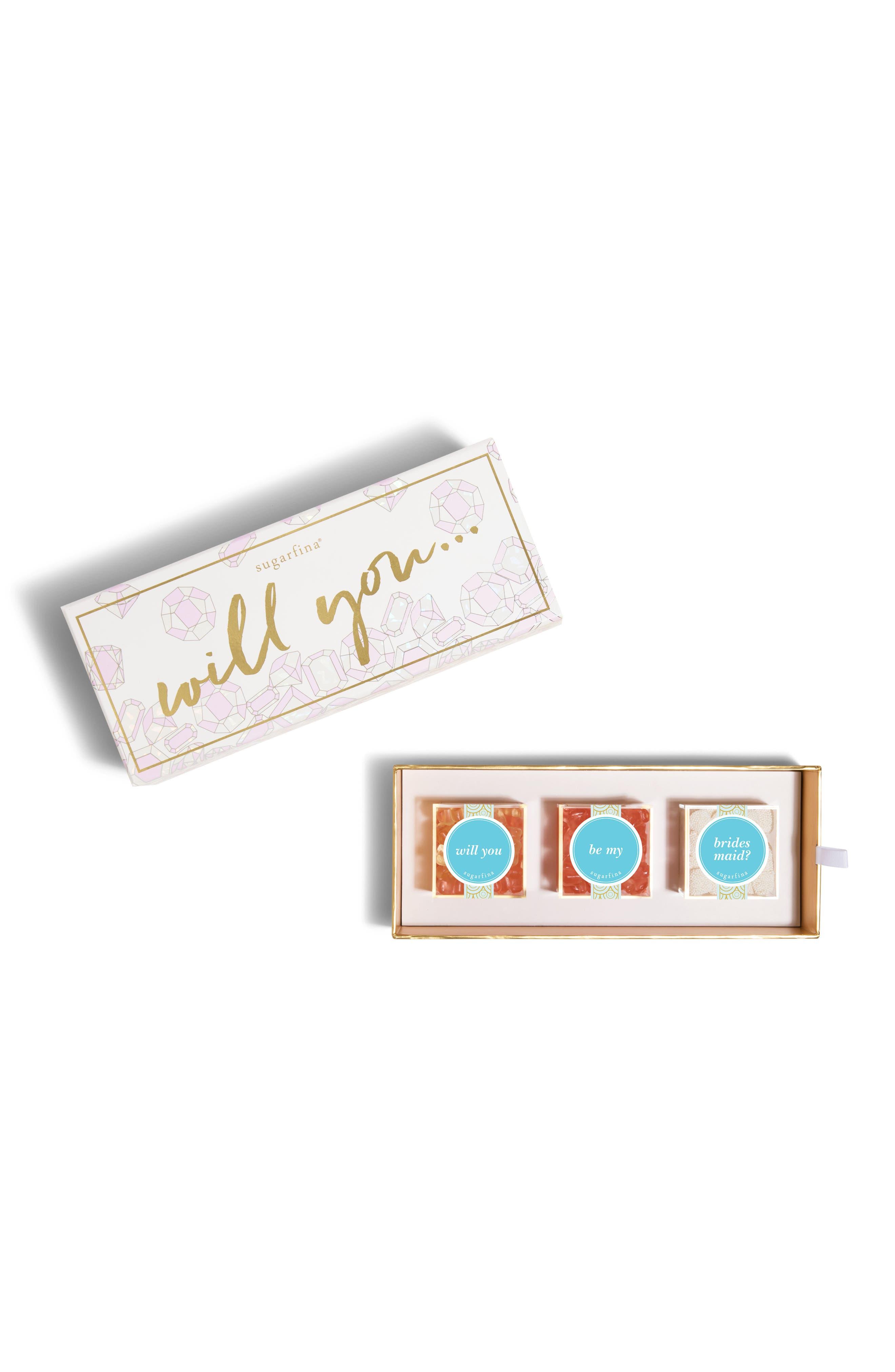 Be My Bridesmaid 3-Piece Candy Bento Box,                         Main,                         color, PINK