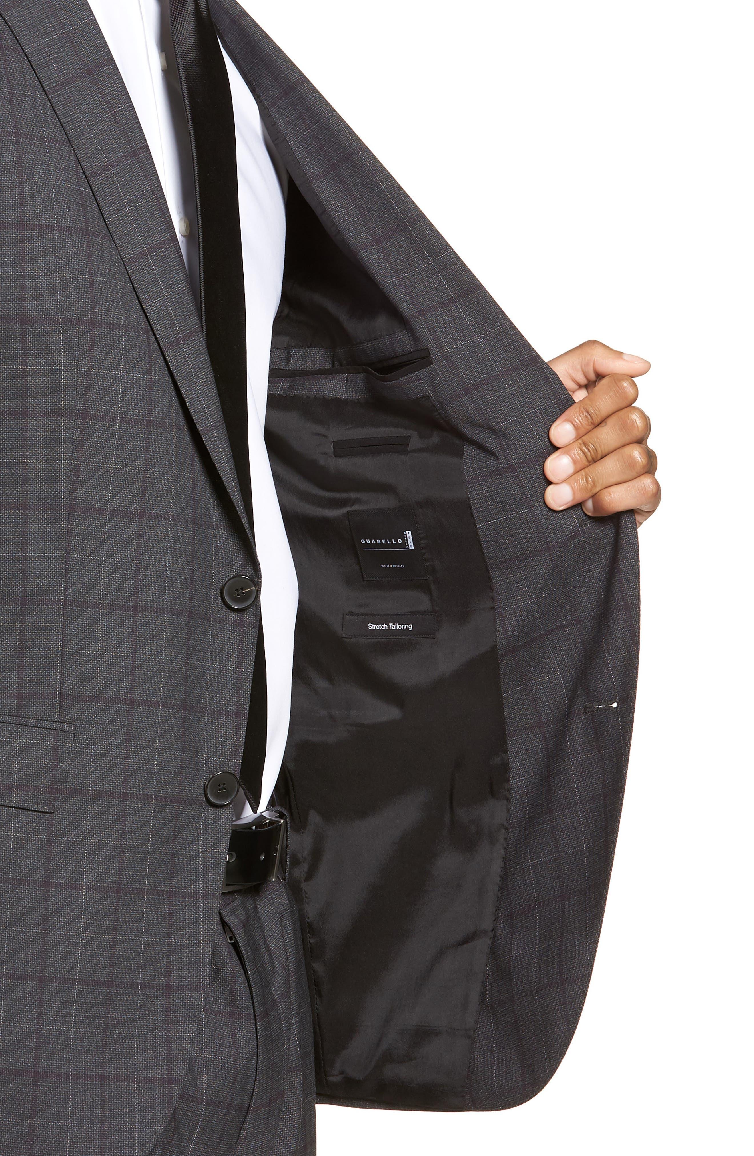 BOSS,                             Novan/Ben Trim Fit Plaid Wool Suit,                             Alternate thumbnail 4, color,                             506