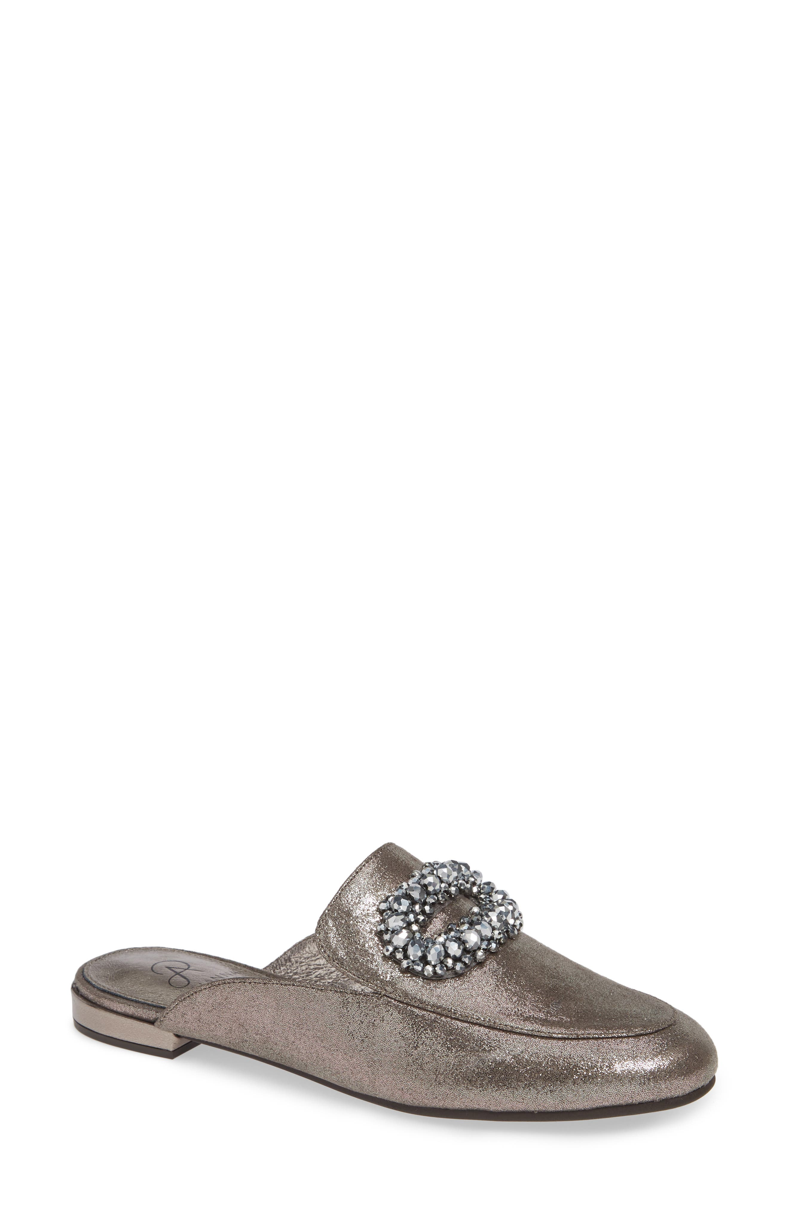 ADRIANNA PAPELL Becky Mules With Bow Detail in Pewter