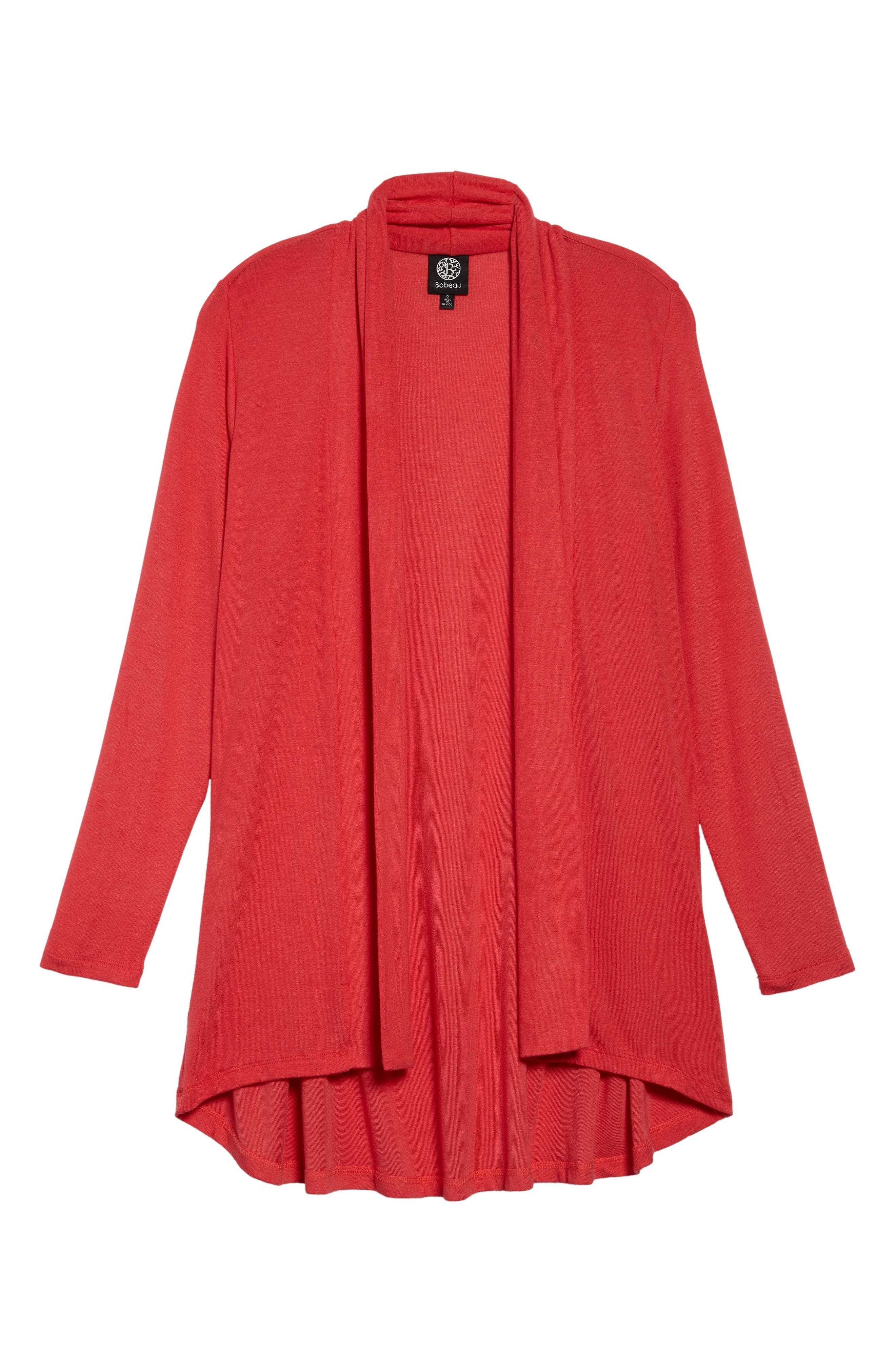 Bobeau High/low Jersey Cardigan, Red