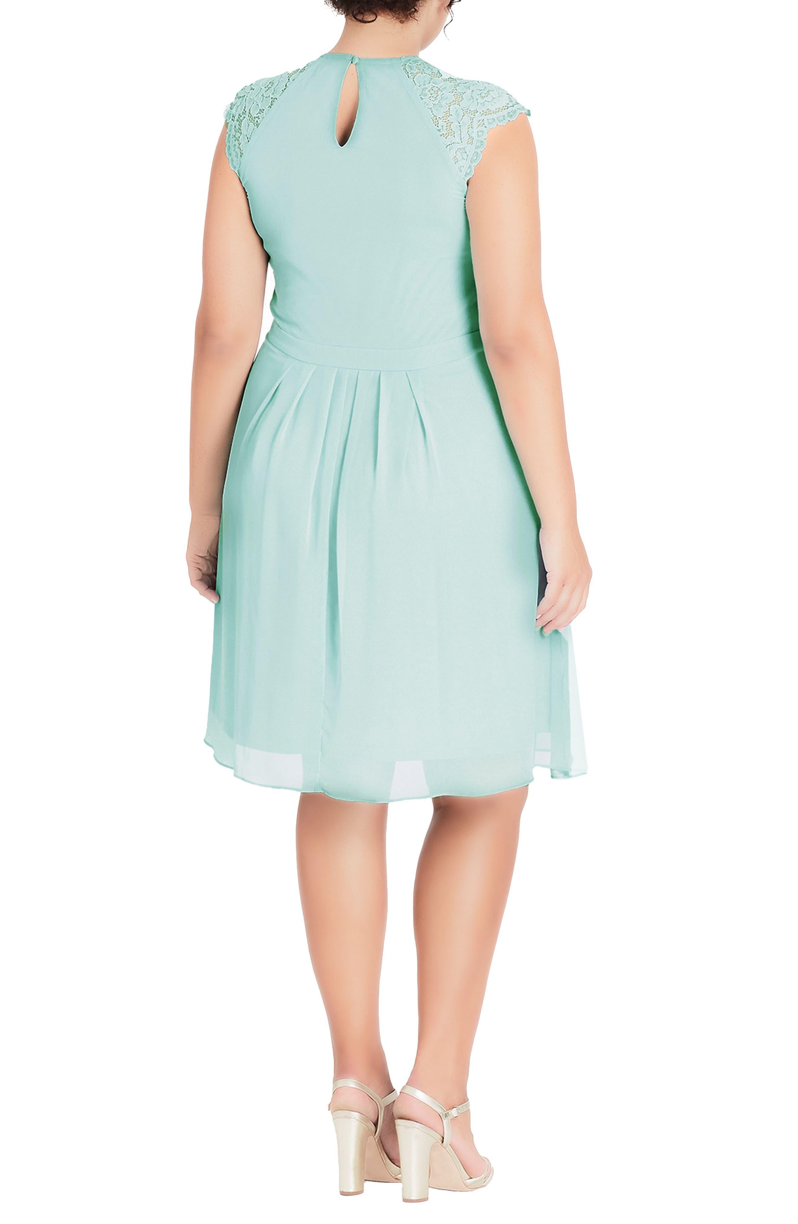 Lace & Chiffon Dress,                             Alternate thumbnail 2, color,                             MINT