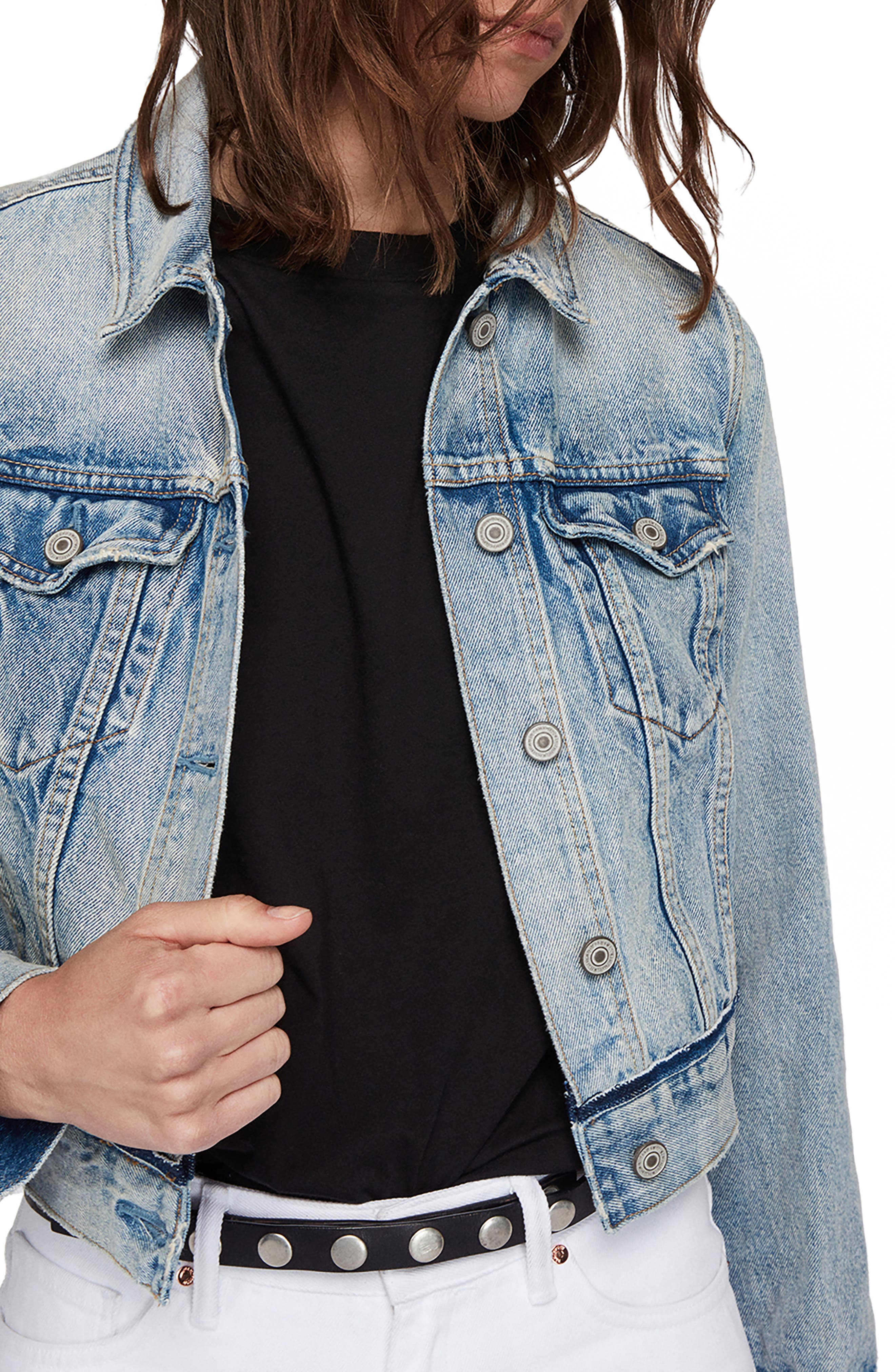 ALLSAINTS Hay Cropped Denim Jacket in Indigo Blue