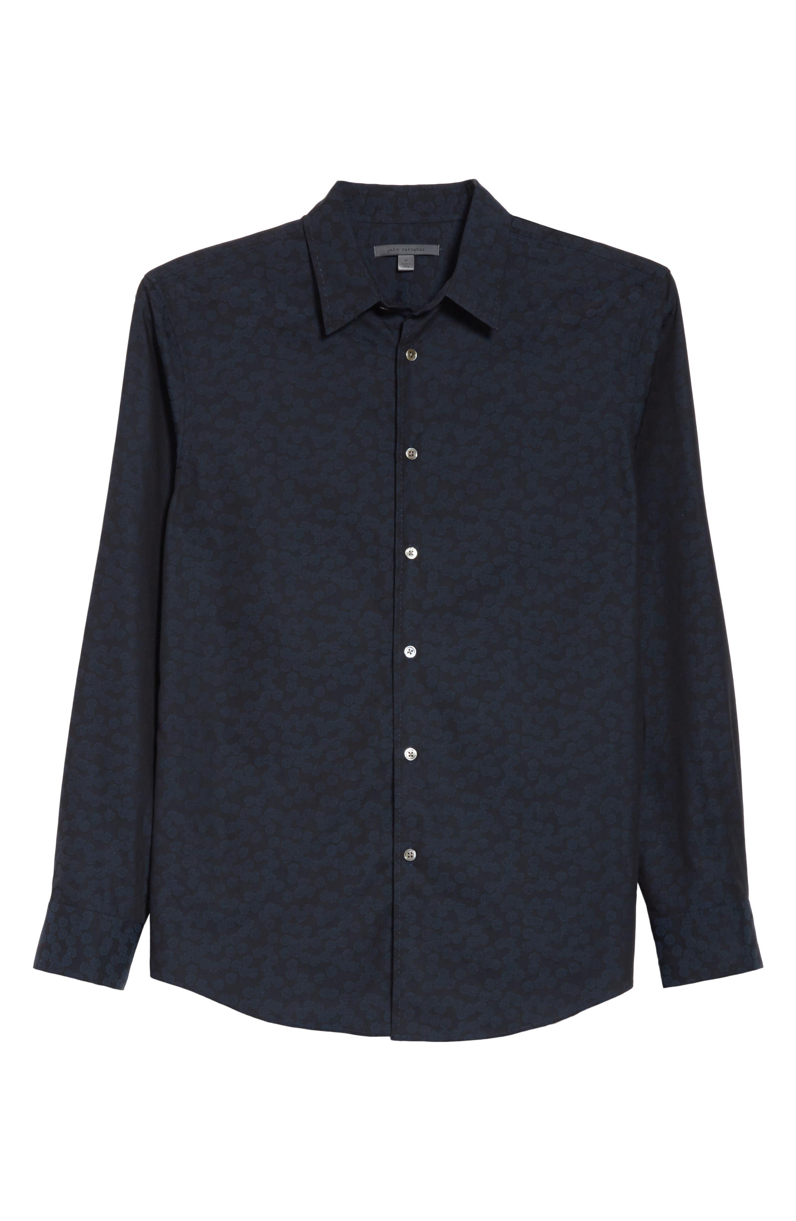 Classic Fit Jacquard Shirt,                             Alternate thumbnail 6, color,                             464