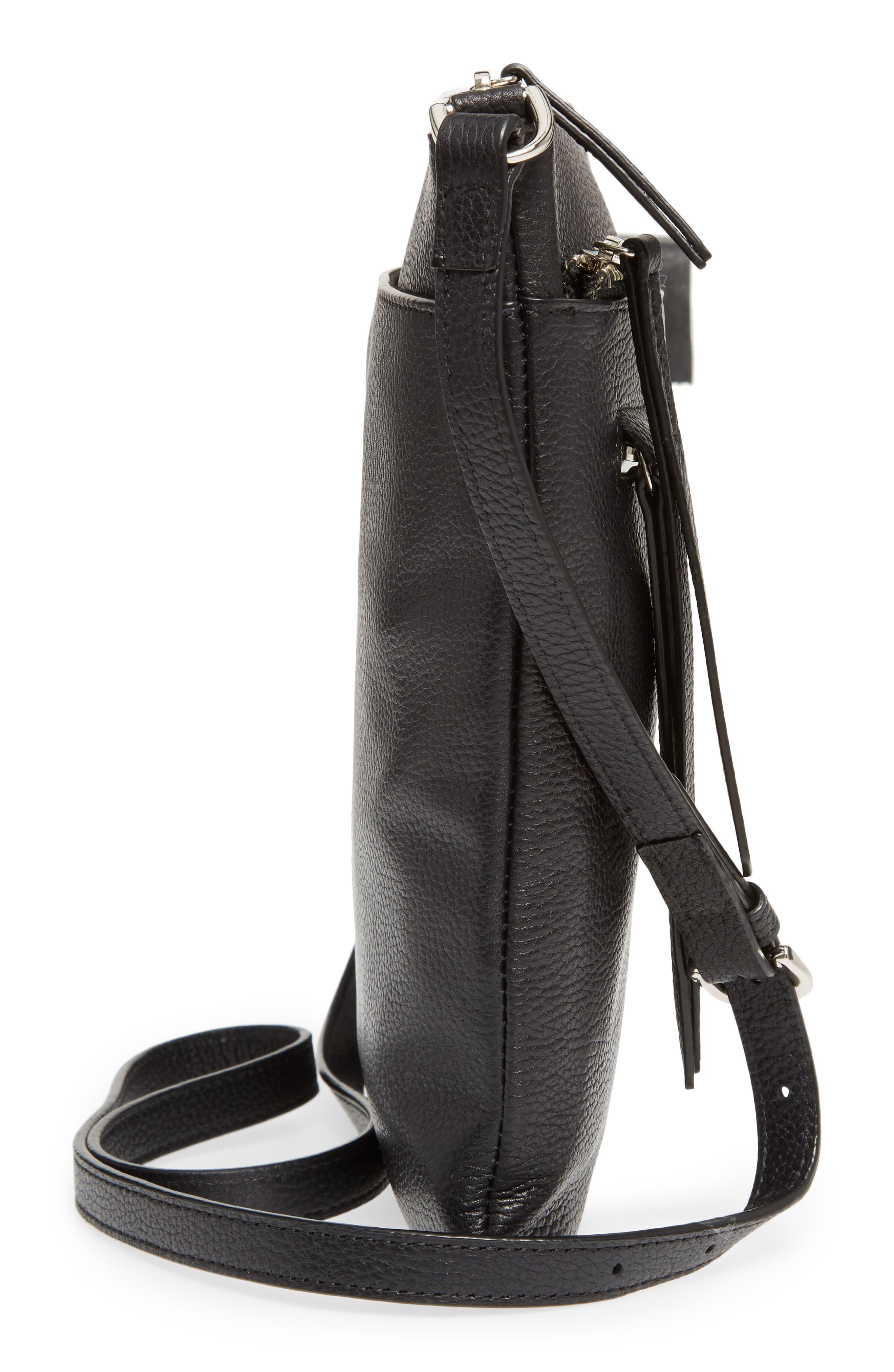 Finn Leather Crossbody Bag,                             Alternate thumbnail 5, color,                             BLACK