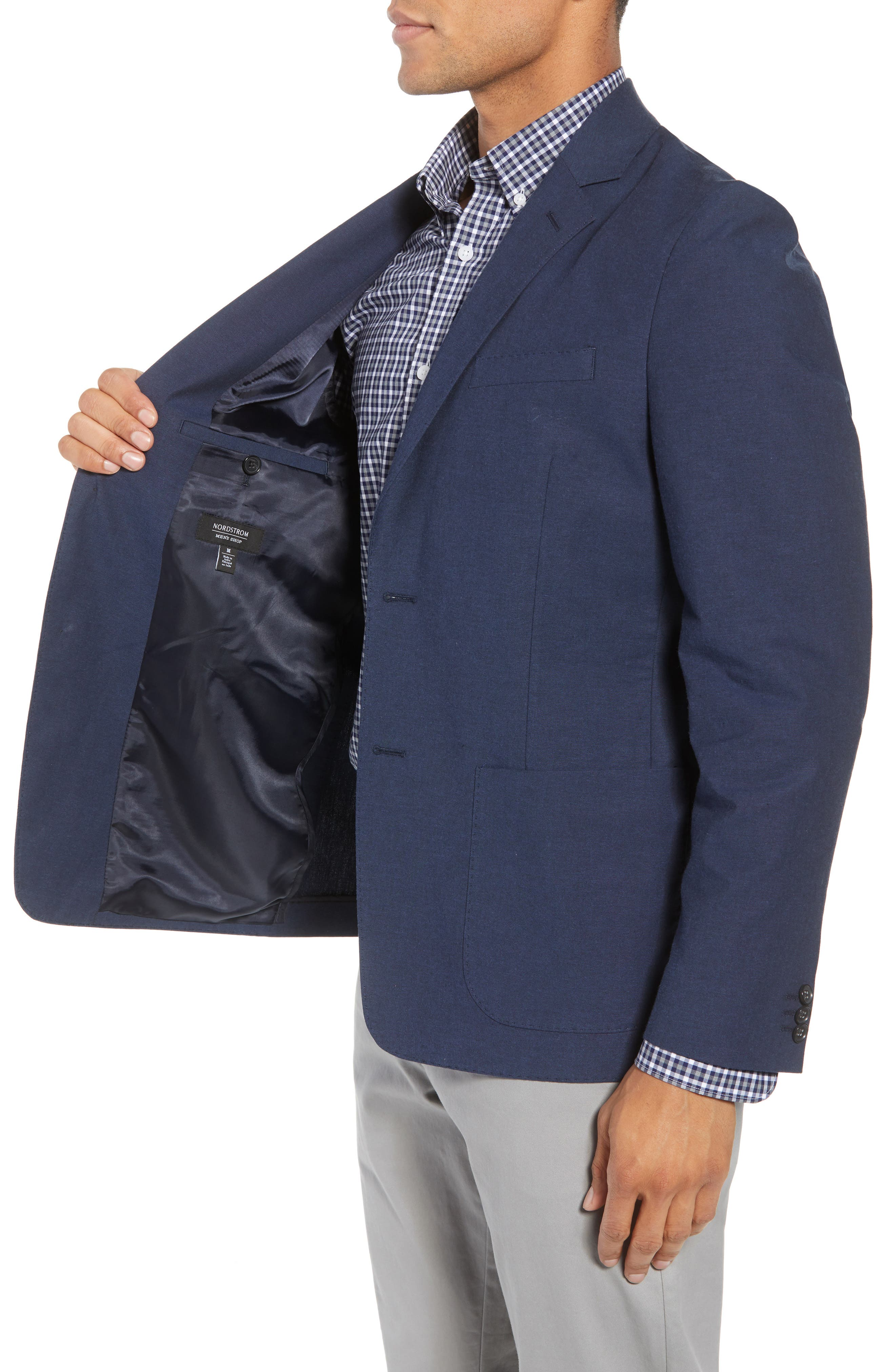 Washed Stretch Cotton Blazer,                             Alternate thumbnail 3, color,                             410