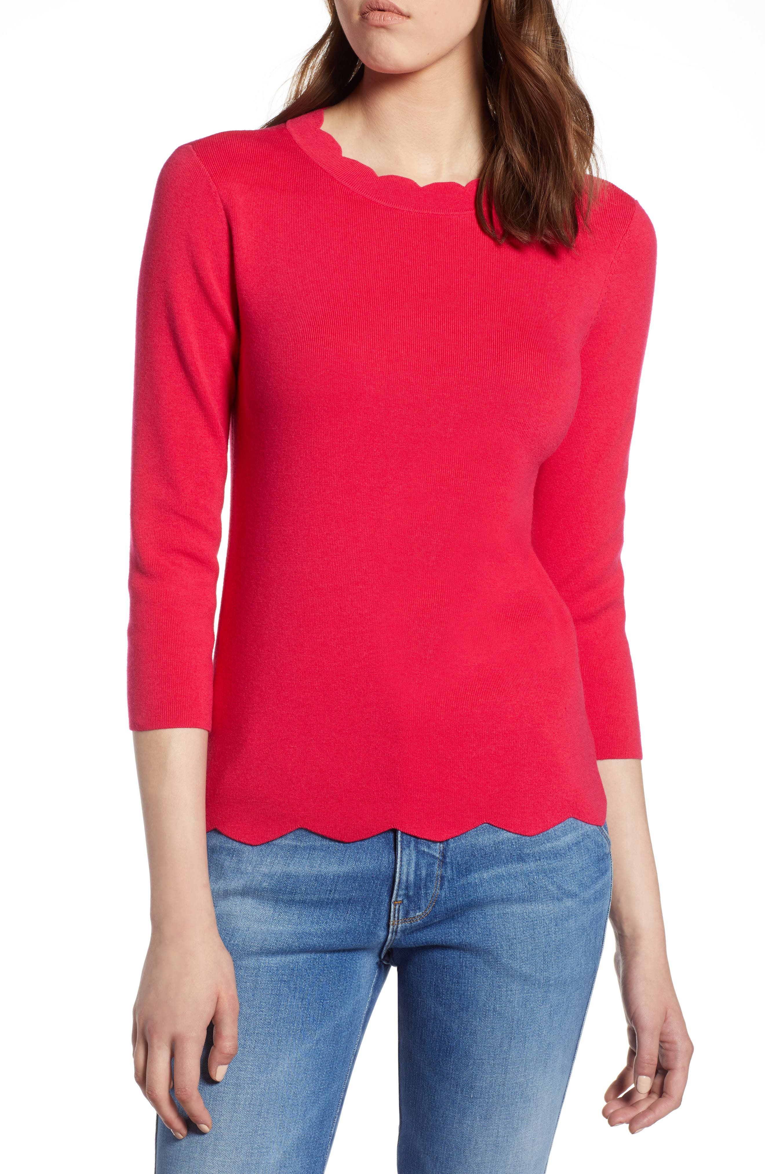 Halogen Scallop Edge Sweater,                             Main thumbnail 4, color,