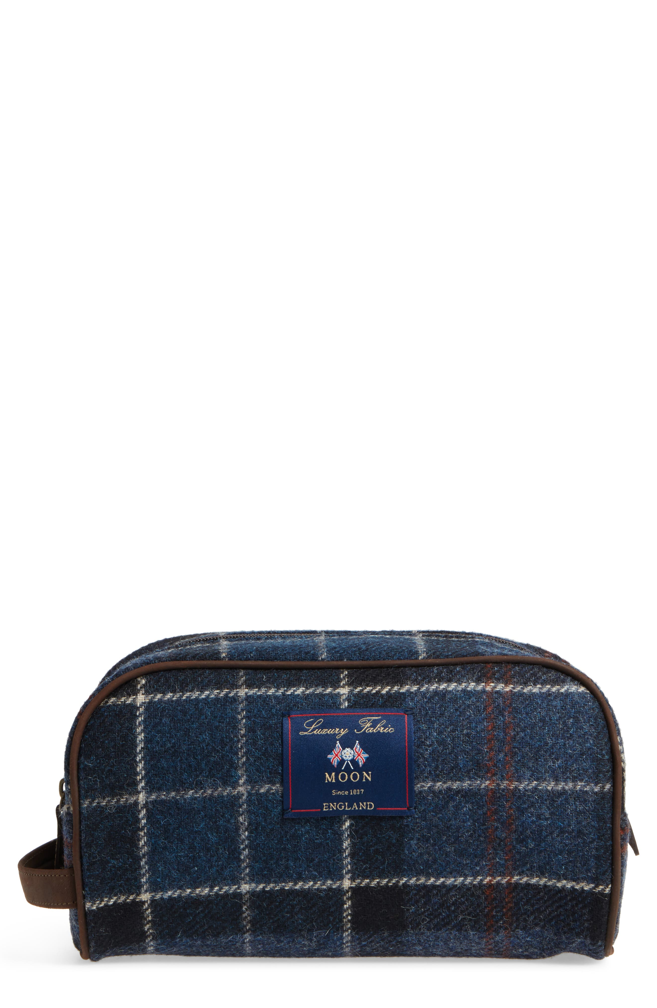 Tartan Dopp Kit,                         Main,                         color, NAVY / RUST TARTAN