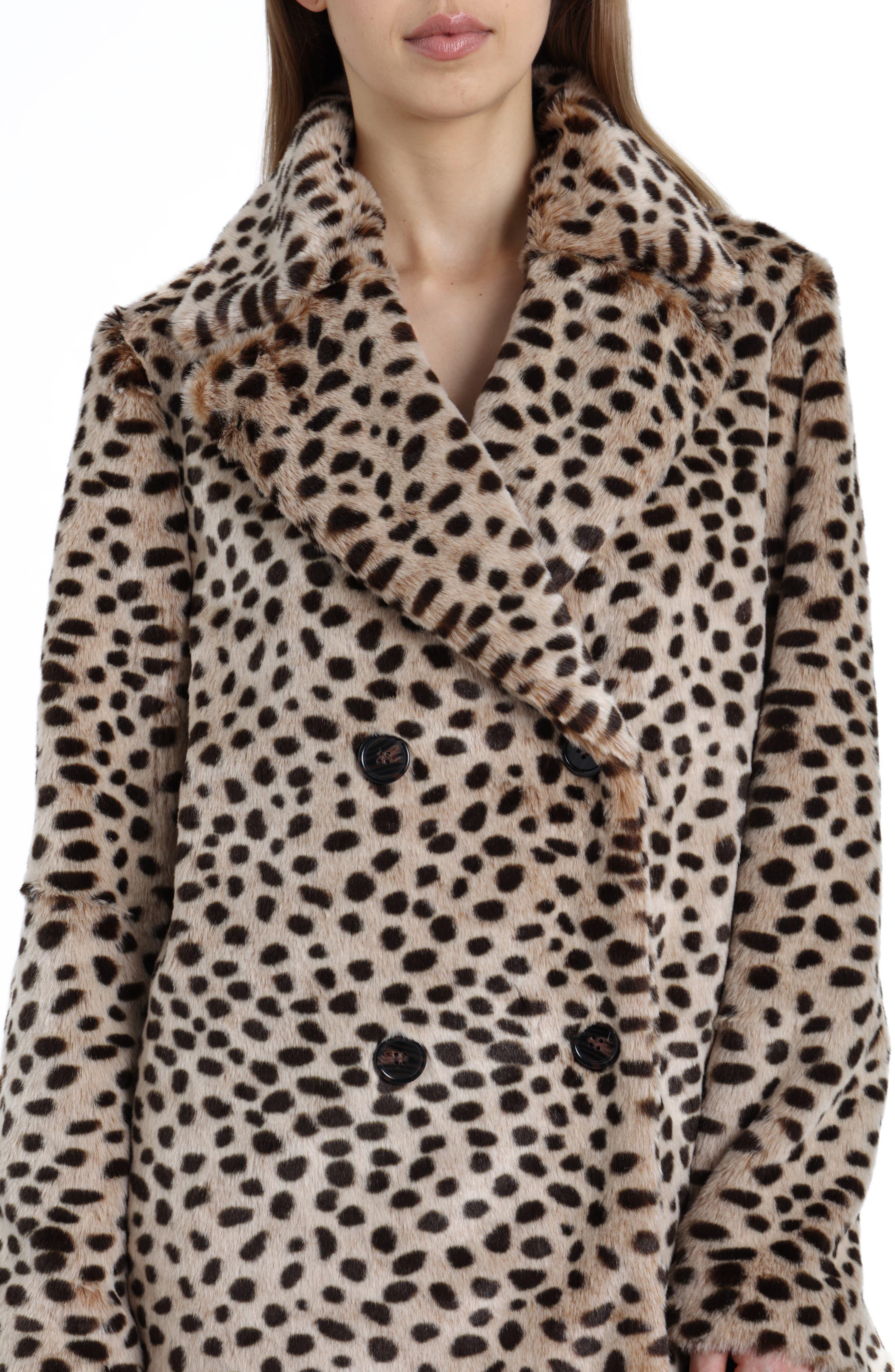 Leopard Print Faux Fur Coat,                             Alternate thumbnail 4, color,                             200