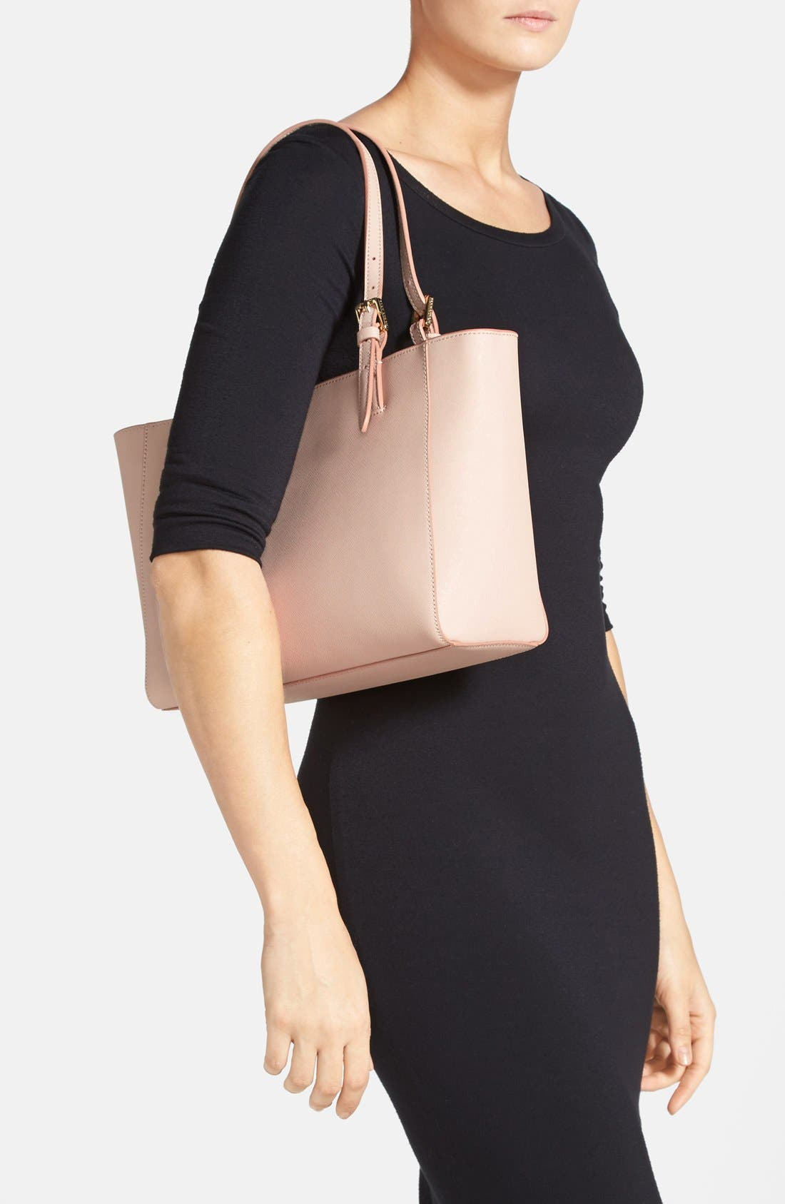 'Small York' Saffiano Leather Buckle Tote,                             Alternate thumbnail 21, color,