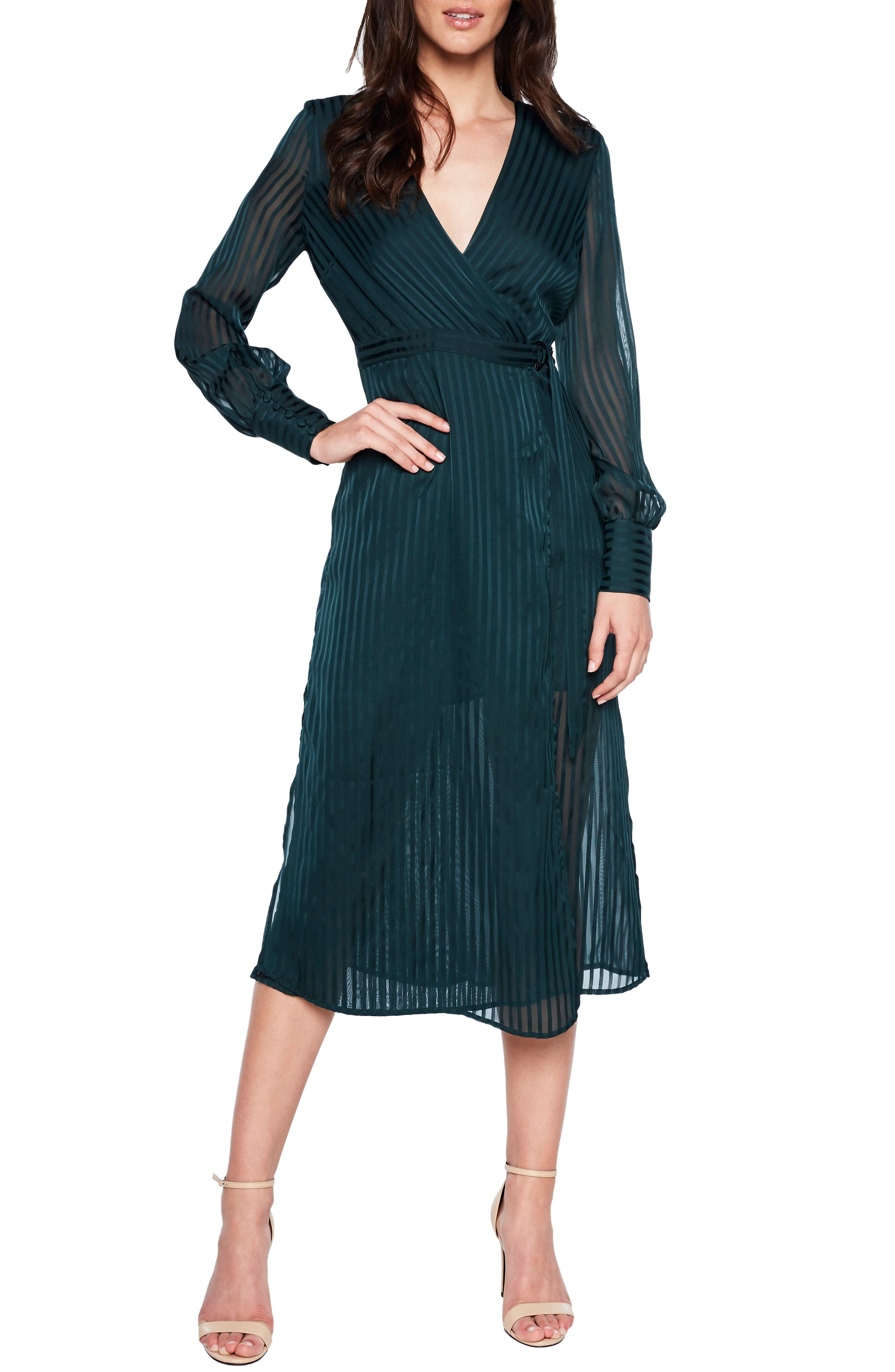 Bardot Shadow Stripe Faux Wrap Midi Dress, Green